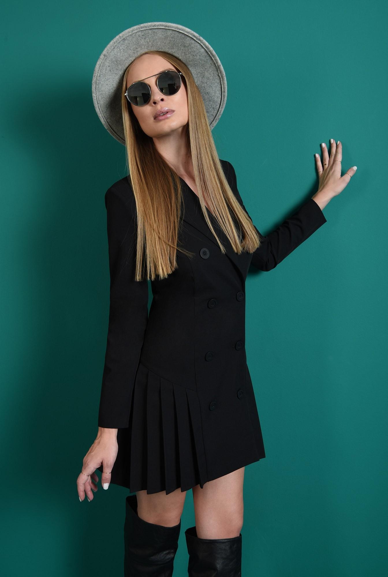2 - rochie scurta, neagra, casual, cu pliseuri