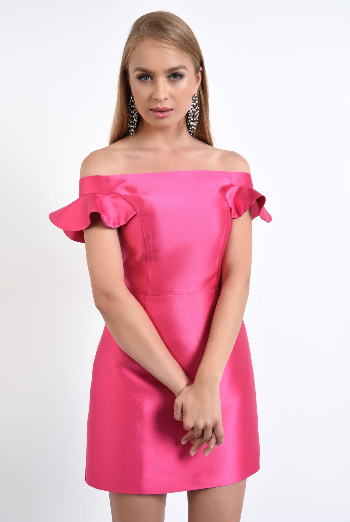 2 - rochie de seara, scurta, din tafta, roz, decoltata, cu umerii goi