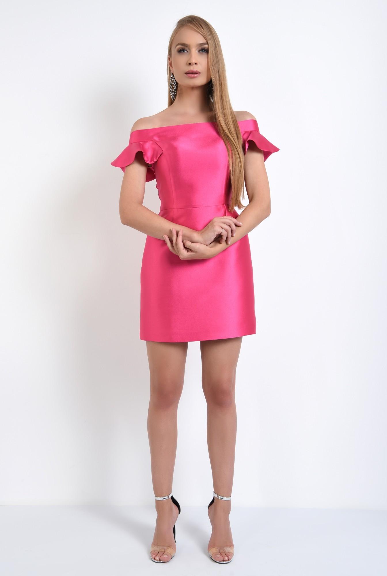 3 - rochie de seara, scurta, din tafta, roz, decoltata, cu umerii goi
