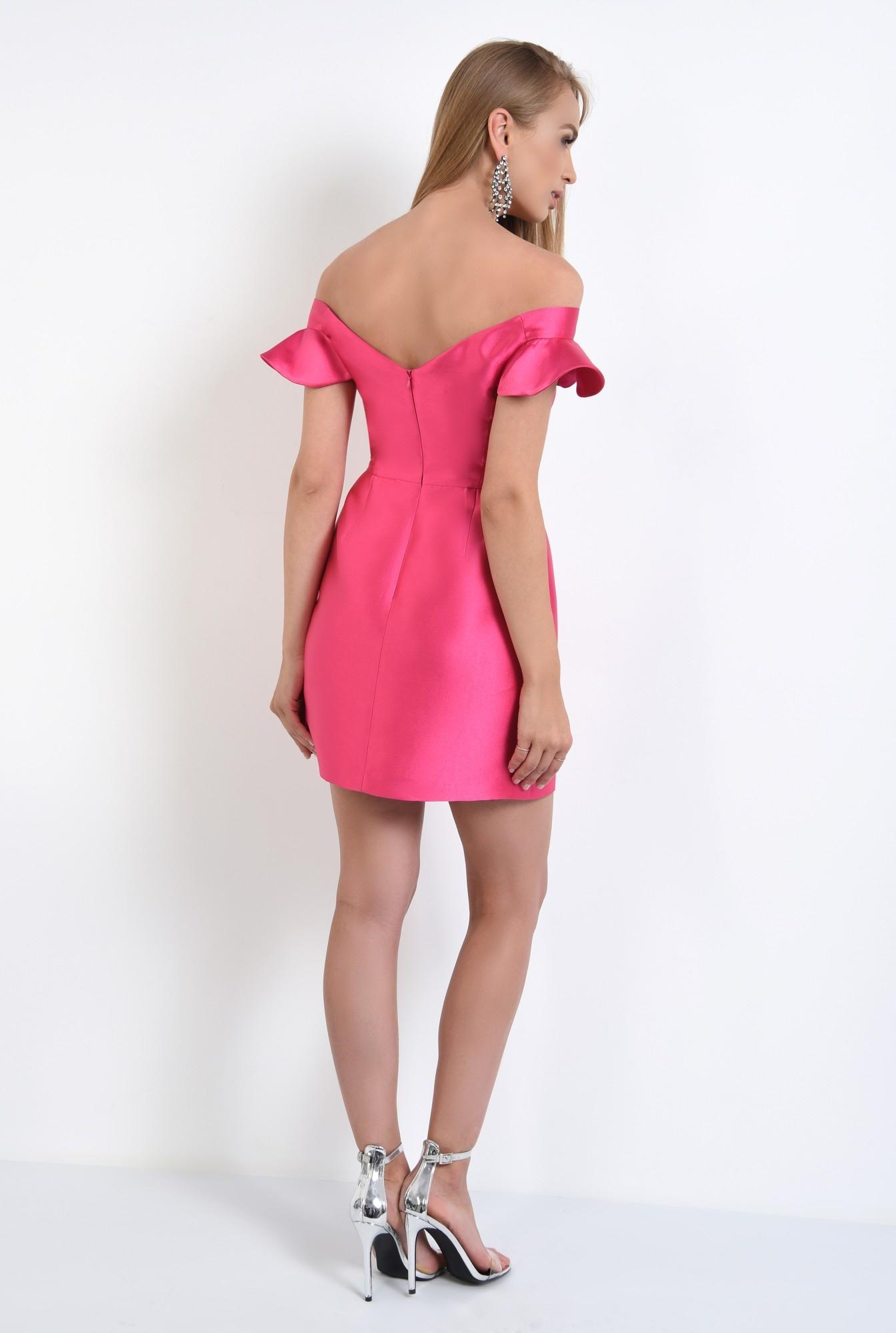 1 - rochie de seara, scurta, din tafta, roz, decoltata, cu umerii goi