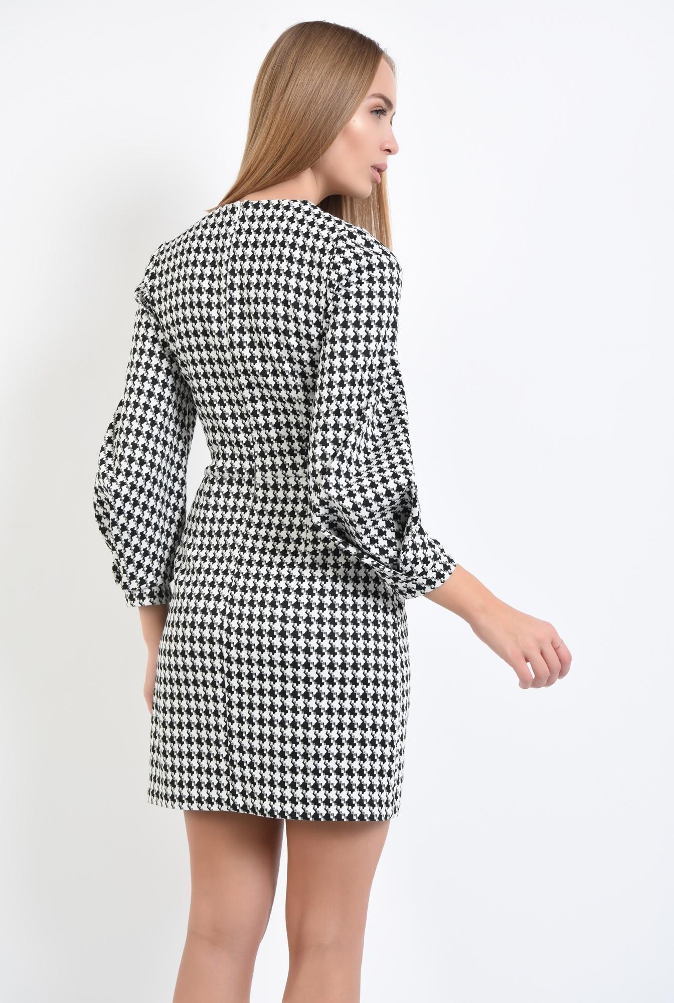 1 - rochie de zi, alb-negru, croi conic, mini