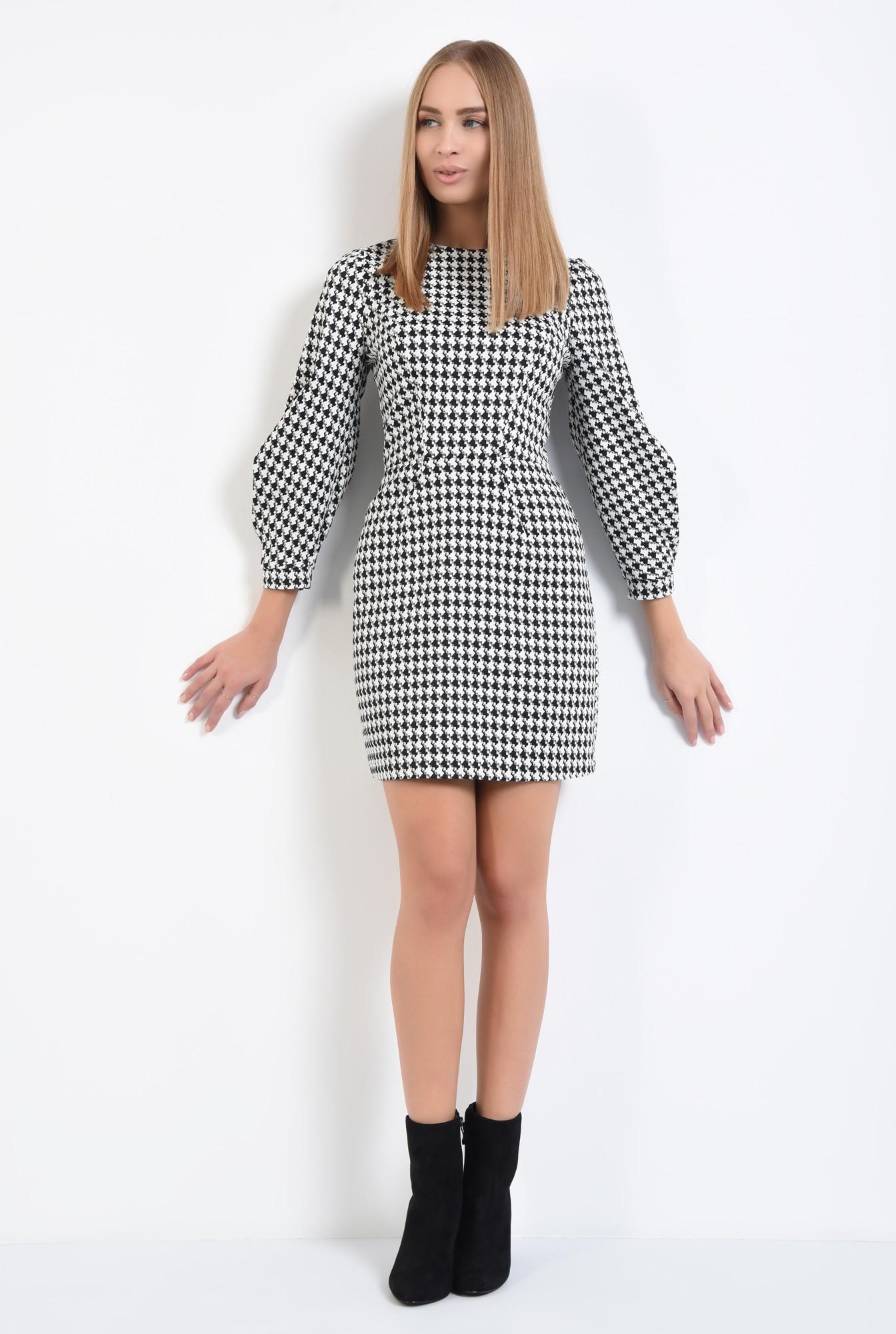 3 - rochie de zi, alb-negru, croi conic, mini