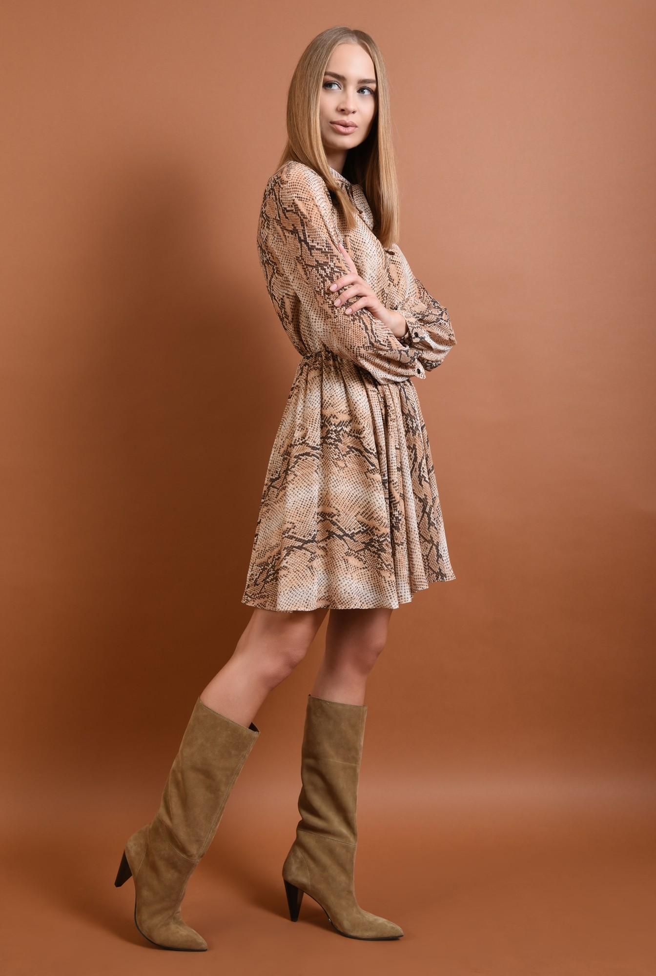 3 - rochie casual, cu imprimeu, sarpe, maneci bufante, guler esarfa