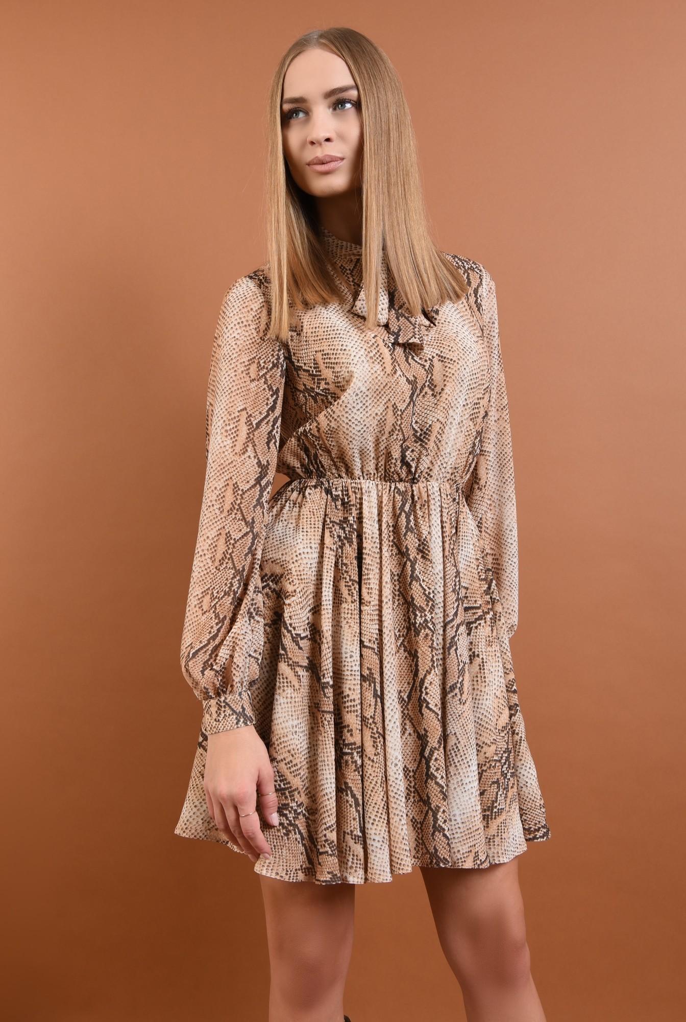 0 - rochie casual, cu imprimeu, sarpe, maneci bufante, guler esarfa