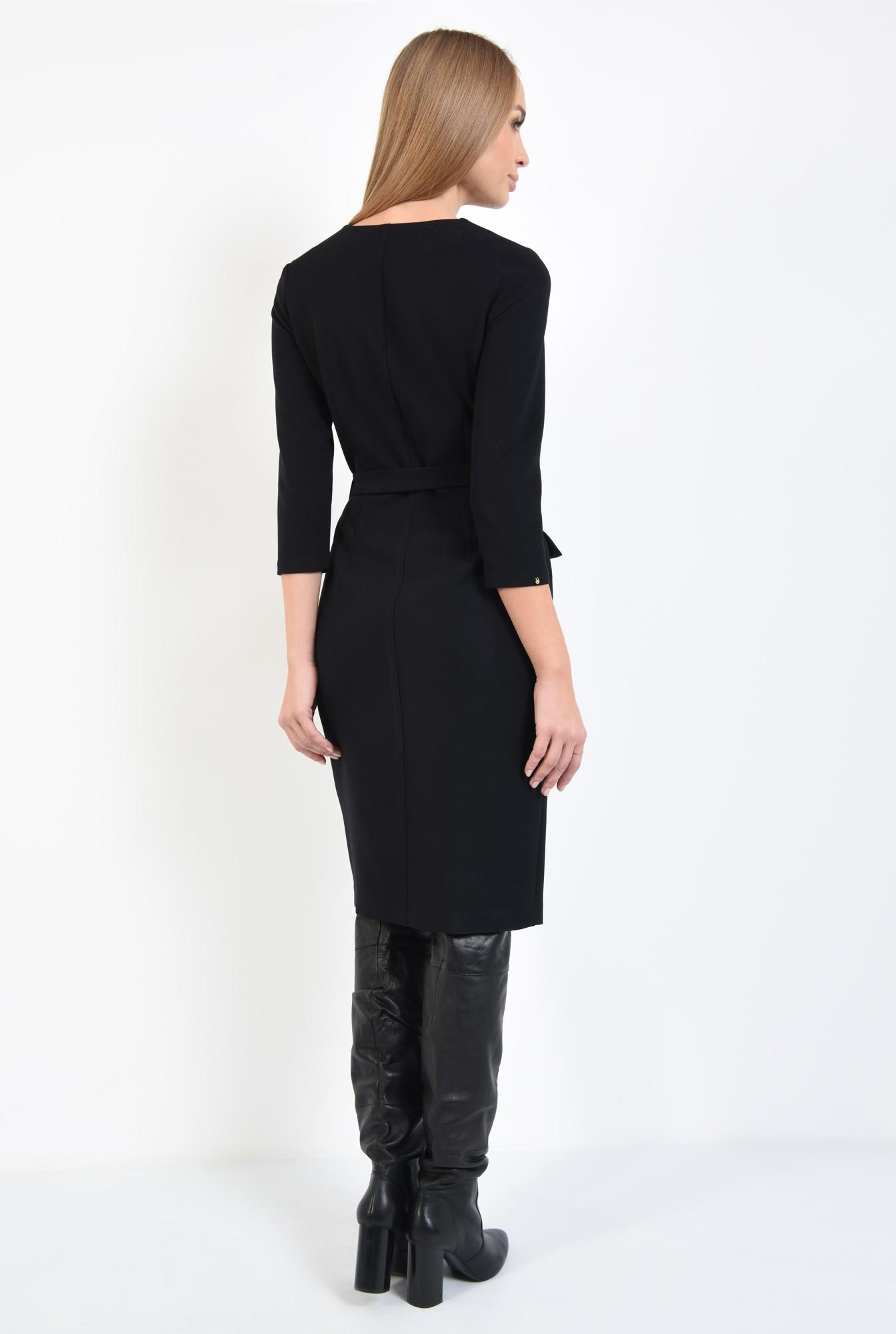 1 - rochie cambrata, de toamna, neagra, cu nasturi, cu cordon