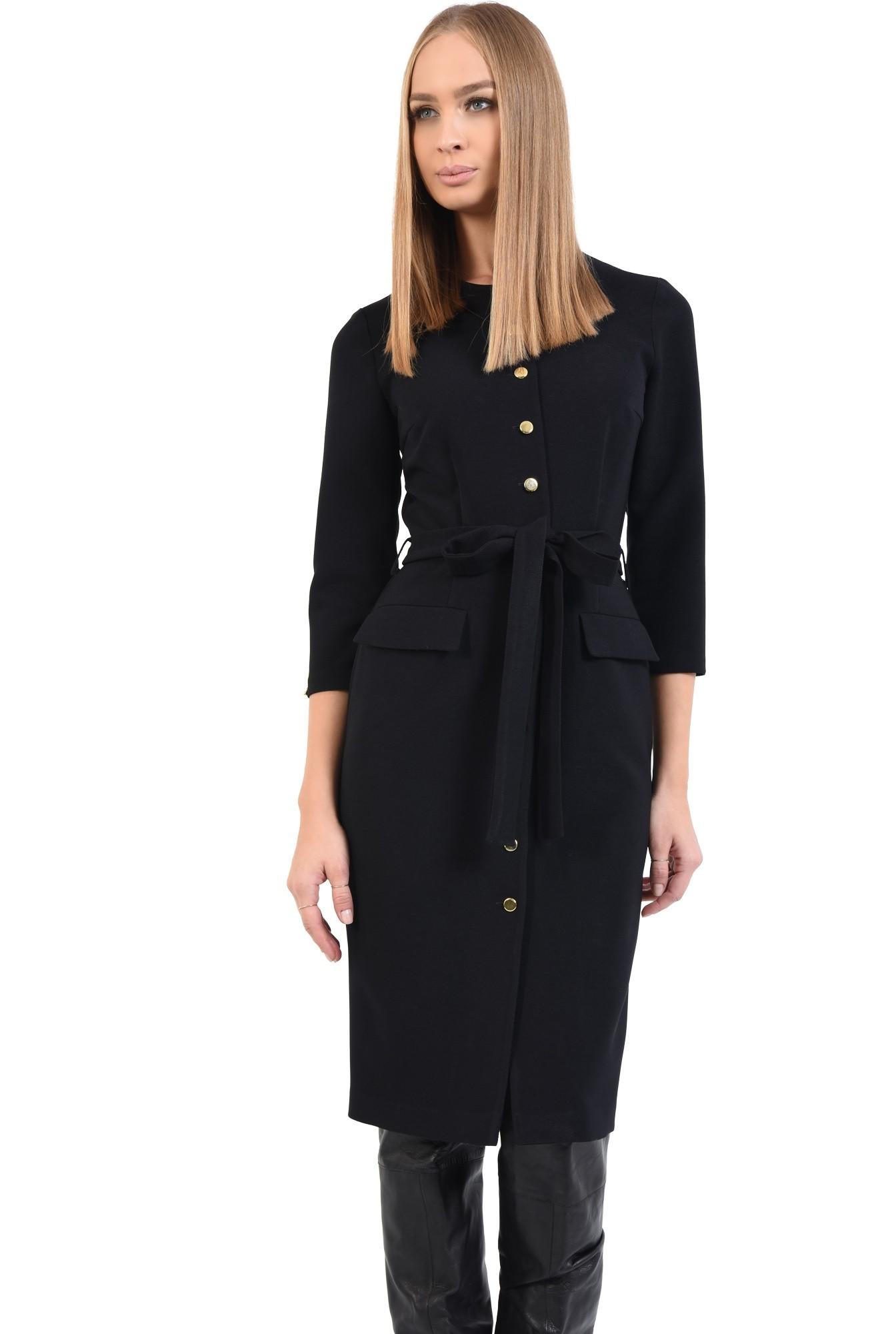 2 - rochie cambrata, de toamna, neagra, cu nasturi, cu cordon