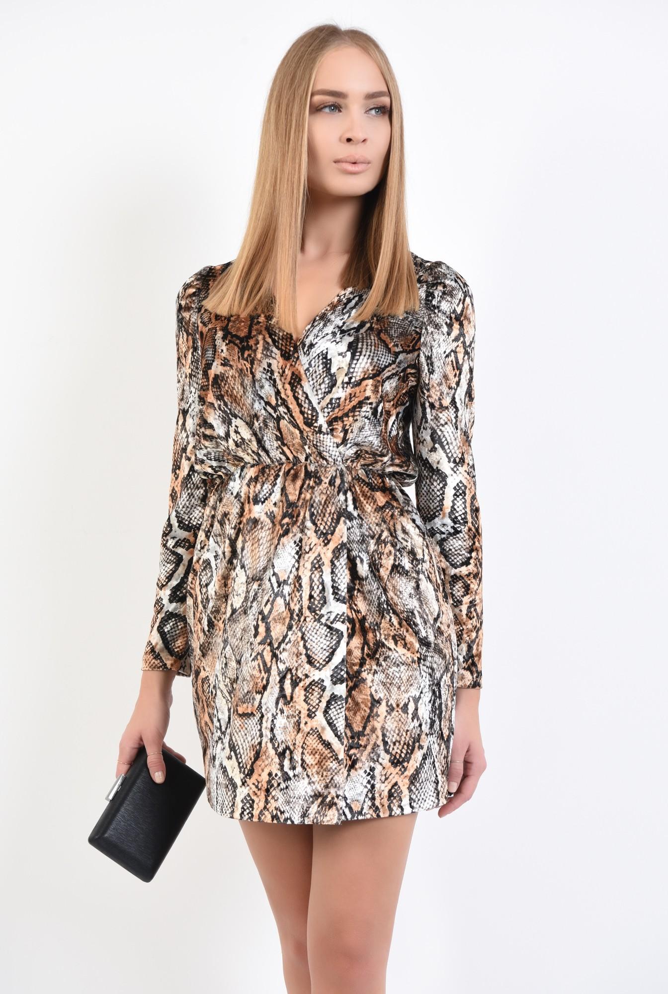 0 - rochie de seara, catifea imprimata, scurta, cu anchior, rochii online