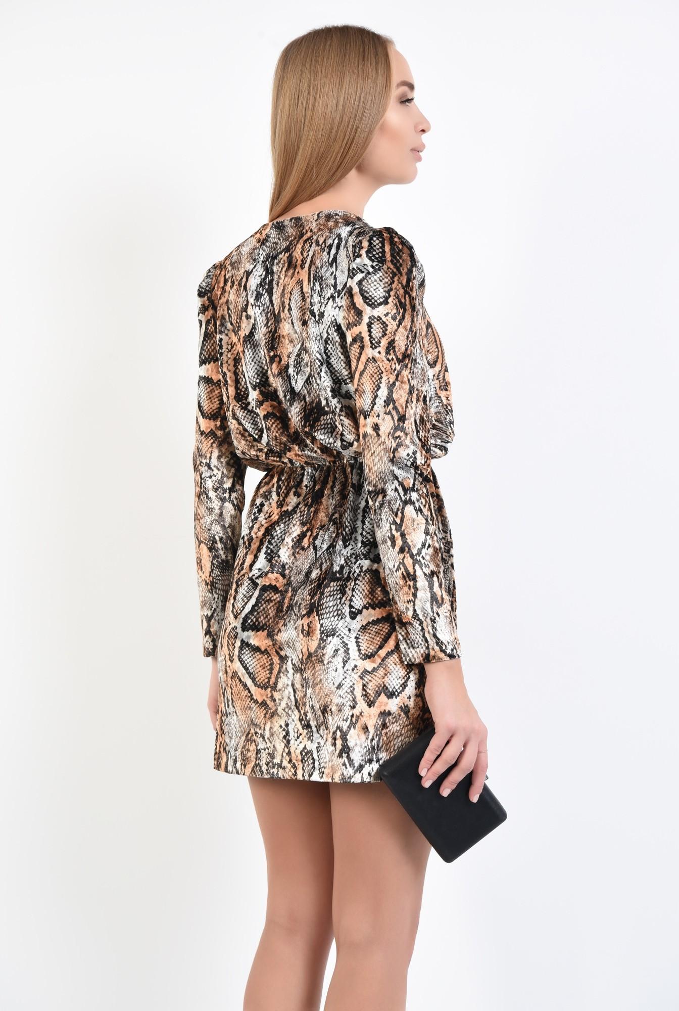 1 - rochie de seara, catifea imprimata, scurta, cu anchior, rochii online