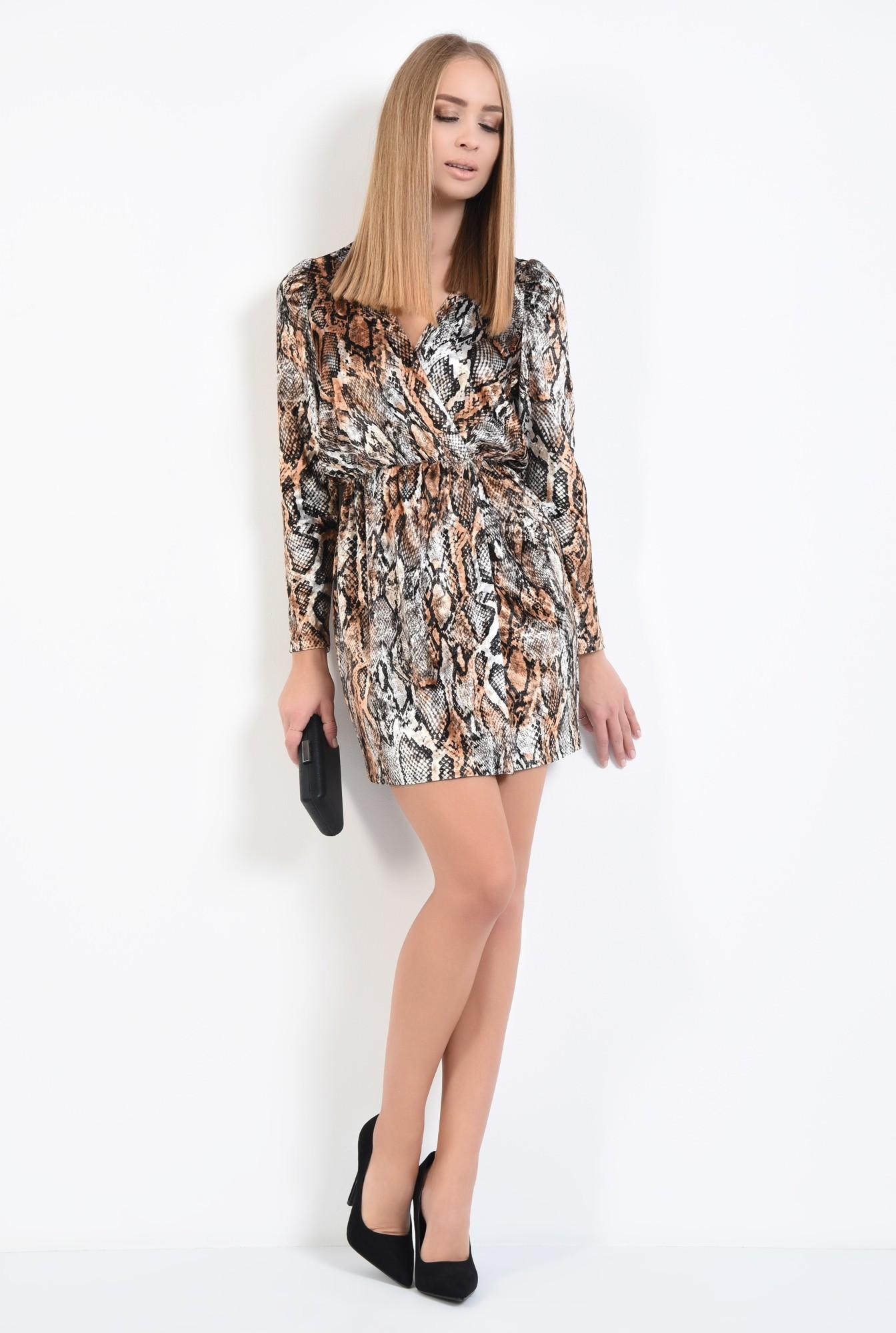 3 - rochie de seara, catifea imprimata, scurta, cu anchior, rochii online