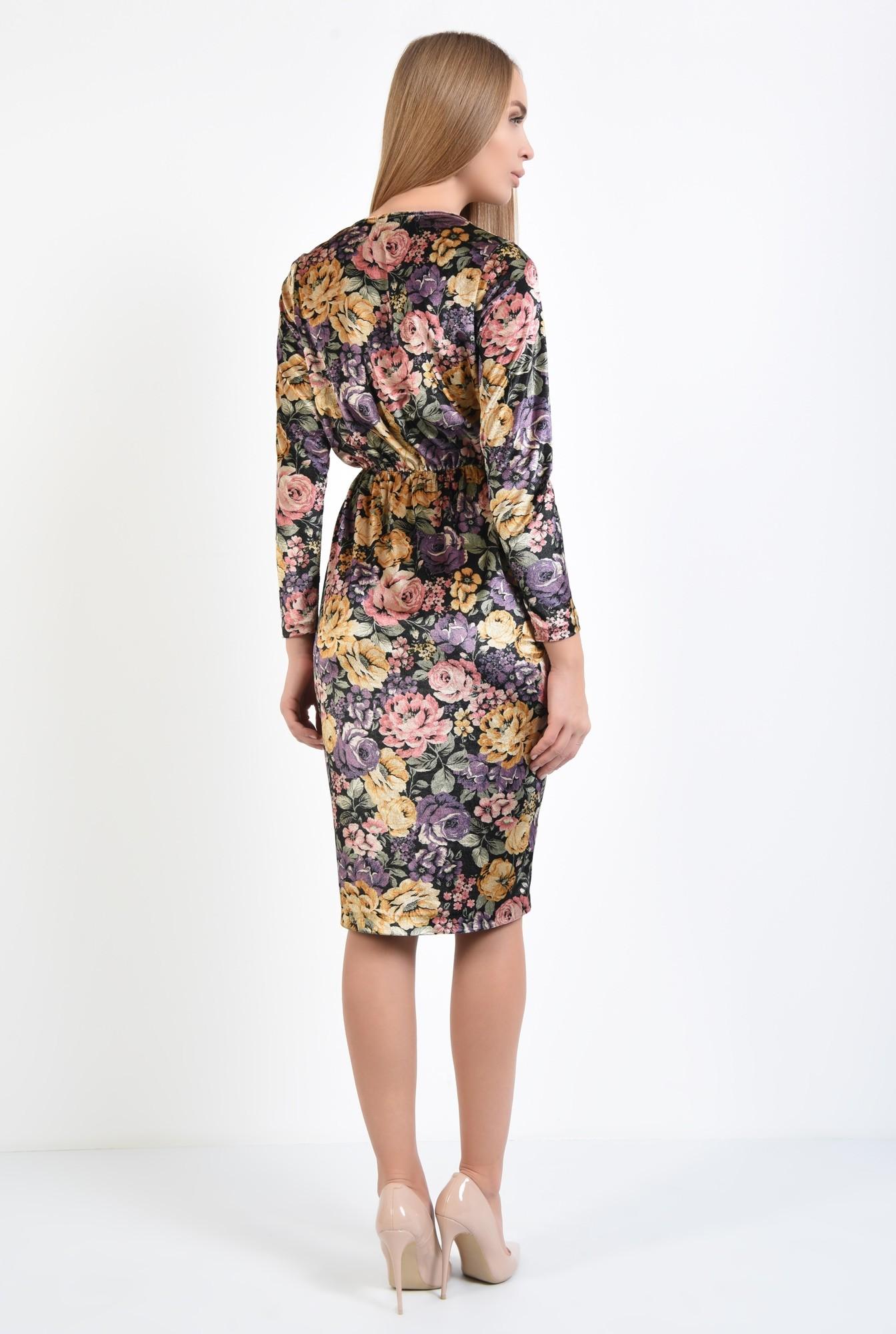 1 - rochie eleganta, imprimeu floral, midi, talie pe elastic