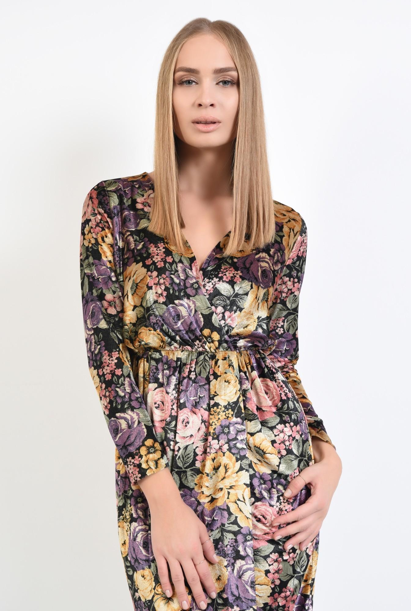 2 - rochie eleganta, imprimeu floral, midi, talie pe elastic