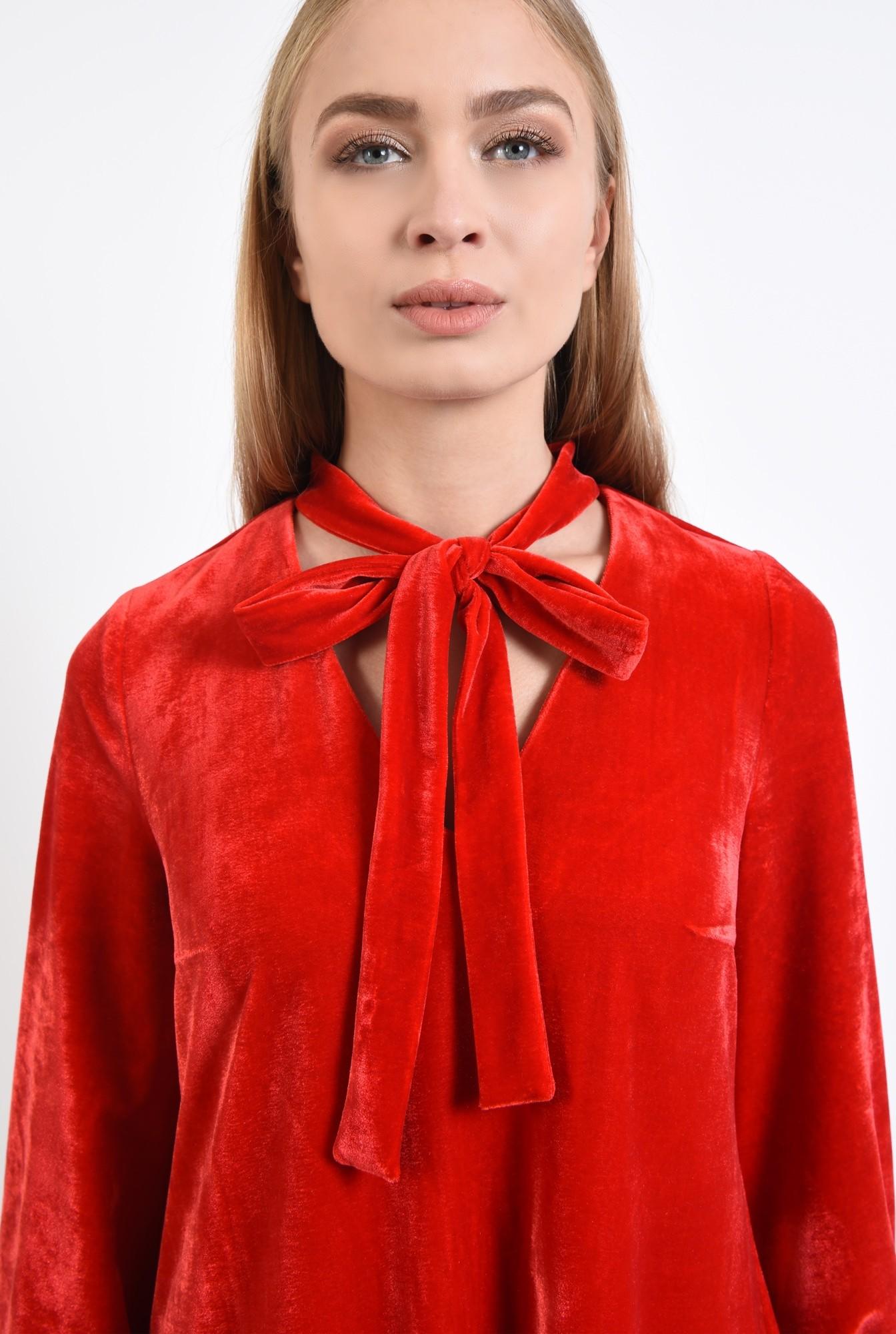 2 - rochie rosie, mini, croi larg, maneci bufante, decolteu anchior