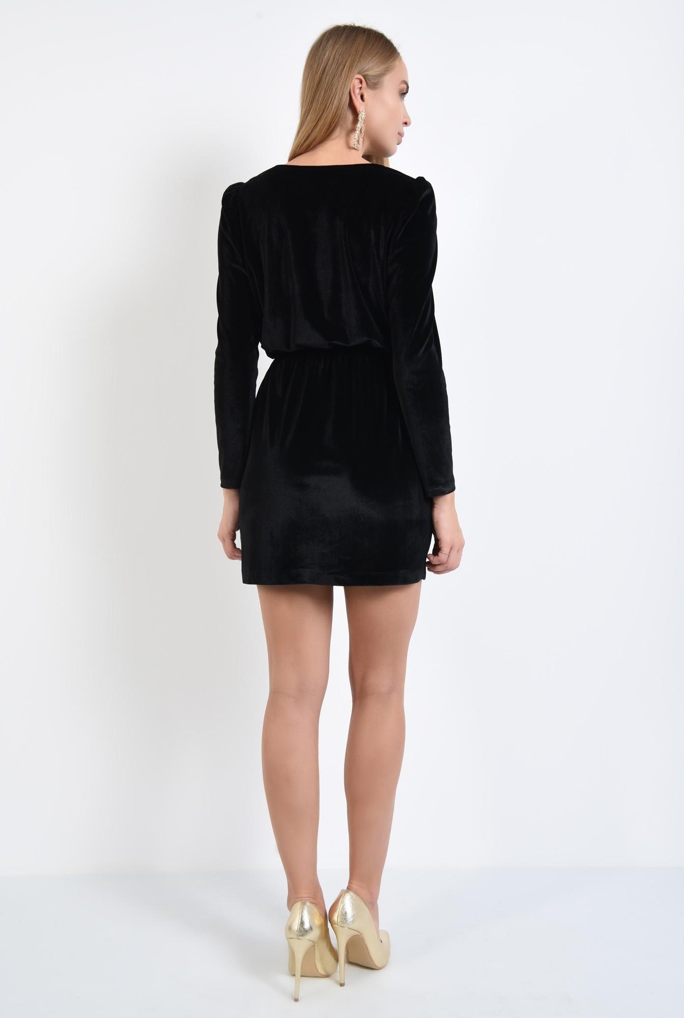 1 - 360 - rochie eleganta, neagra, scurta, decoltata, cu anchior