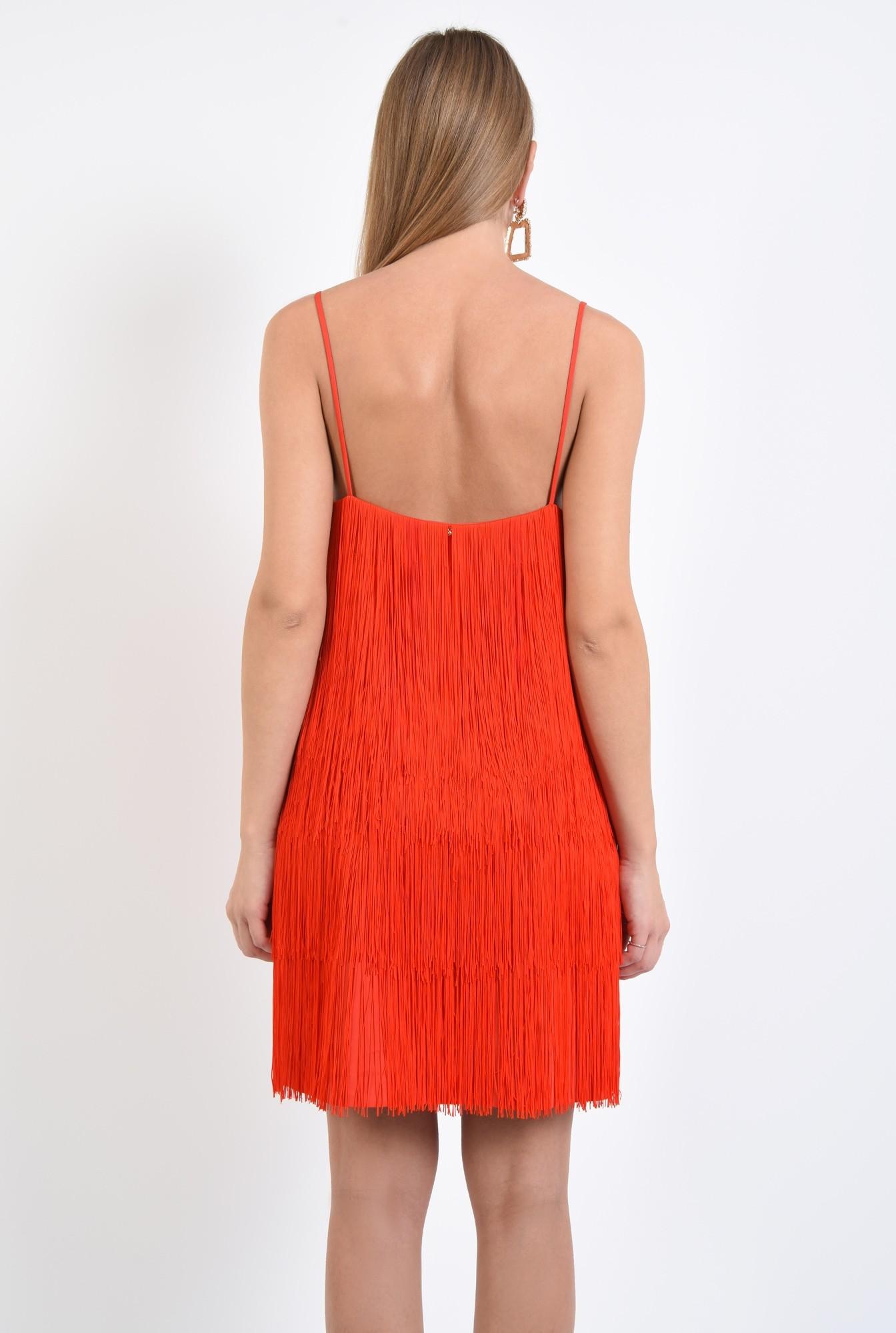 1 - rochie de seara, cu franjuri, corai, bretele spaghetti