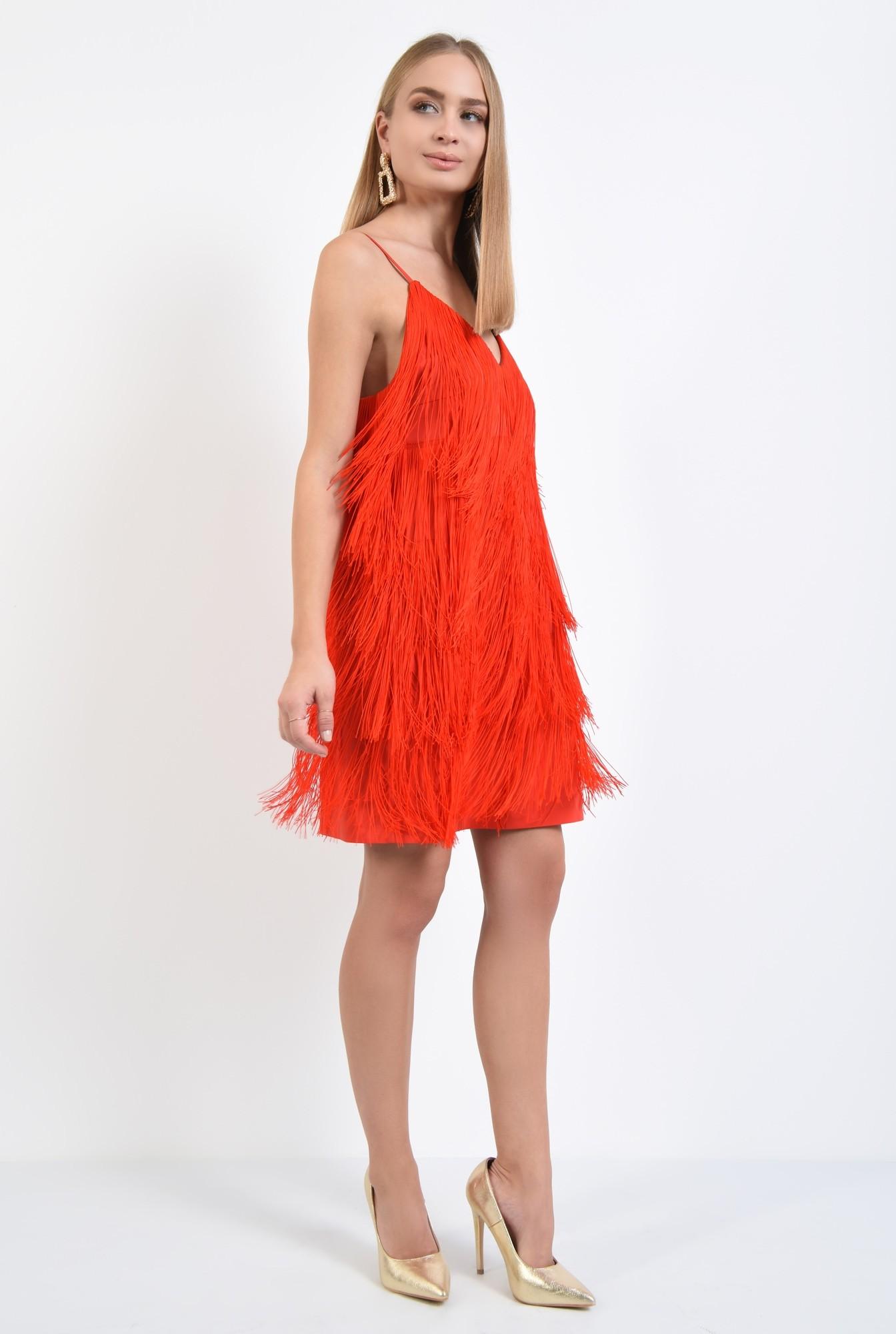 3 - rochie de seara, cu franjuri, corai, bretele spaghetti