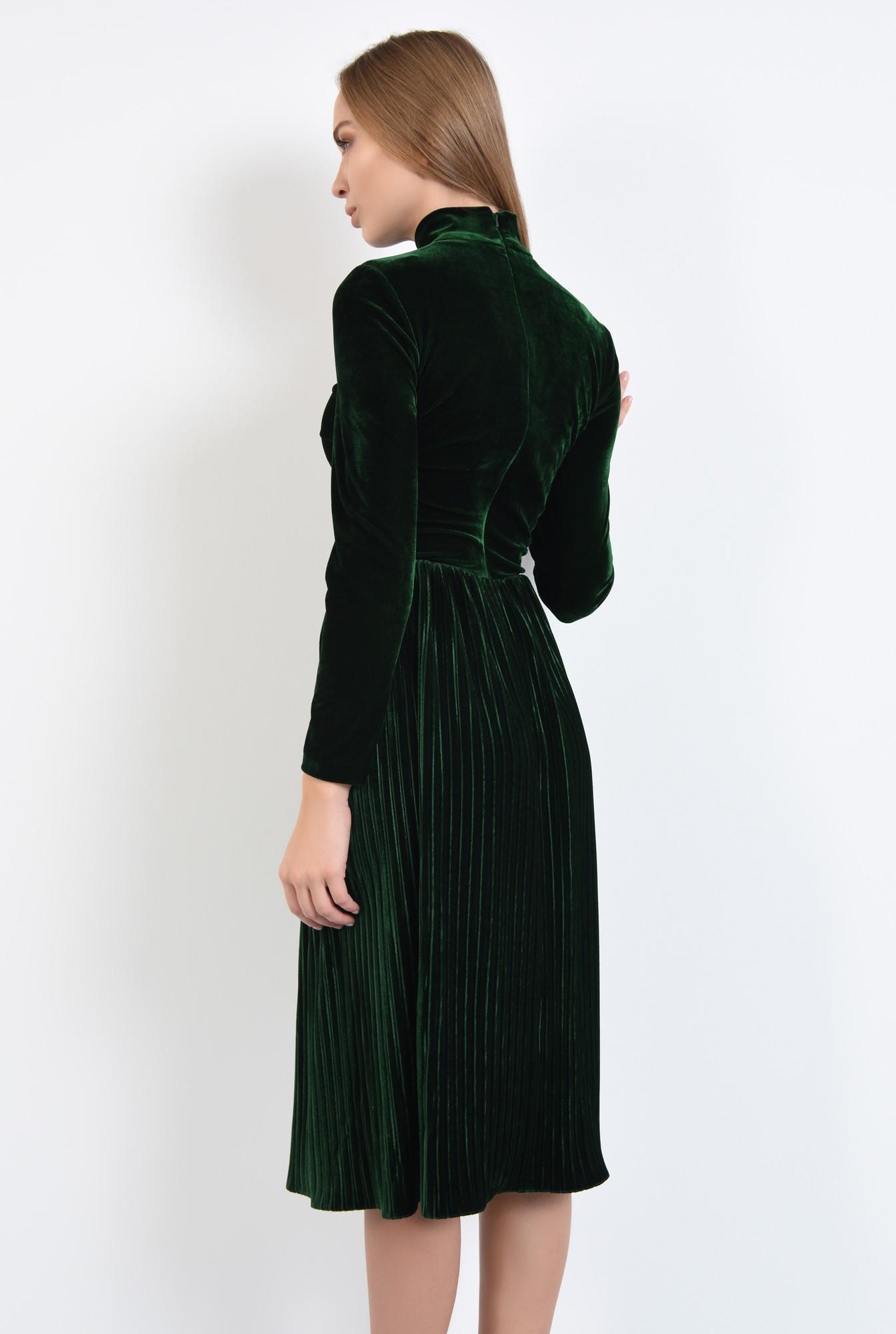 1 - rochie de ocazie, din catifea, cu pliseuri, fermoar la spate, cu guler
