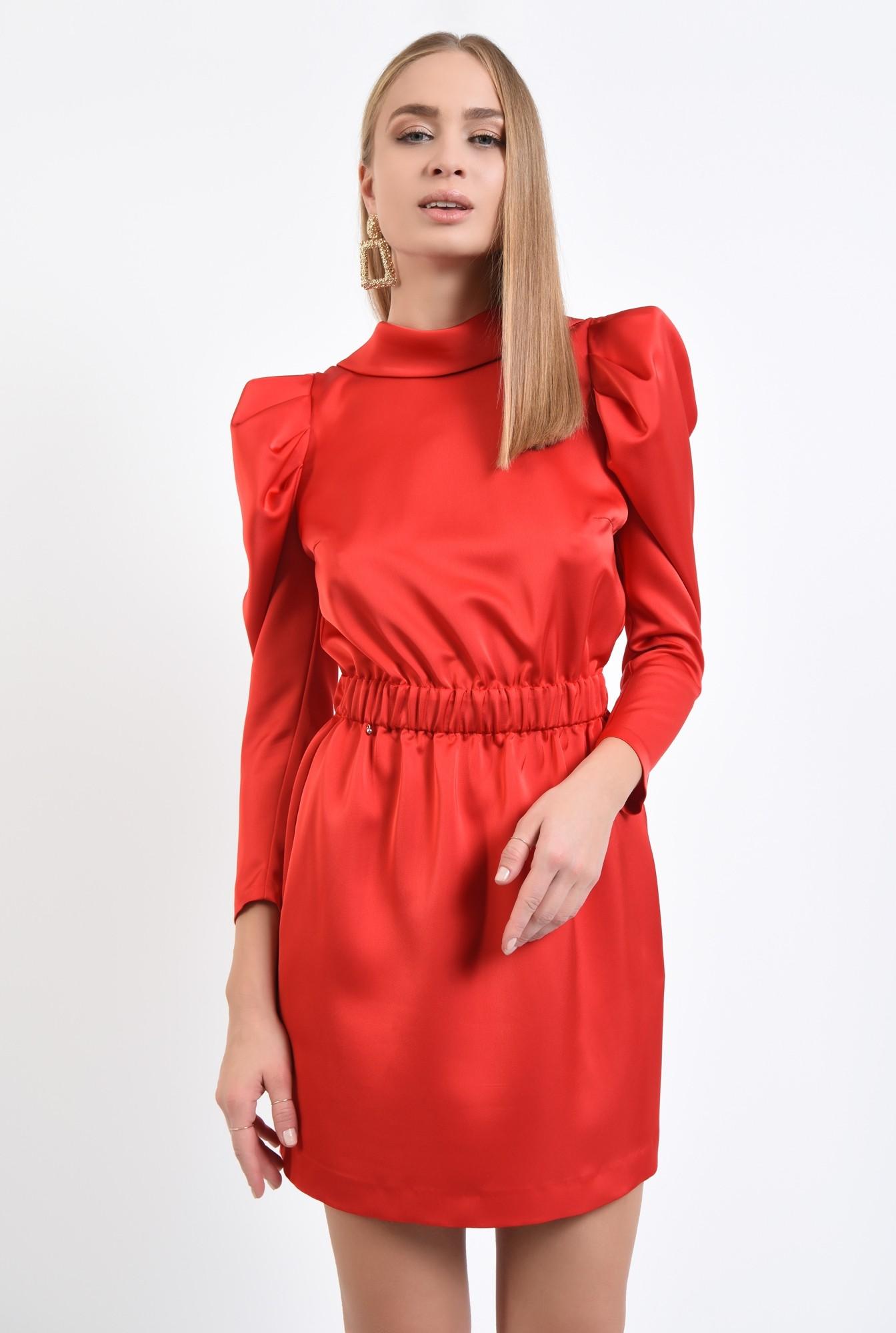 0 - 360 - rochie eleganta, mini, maneci cu cret la umar, spate gol