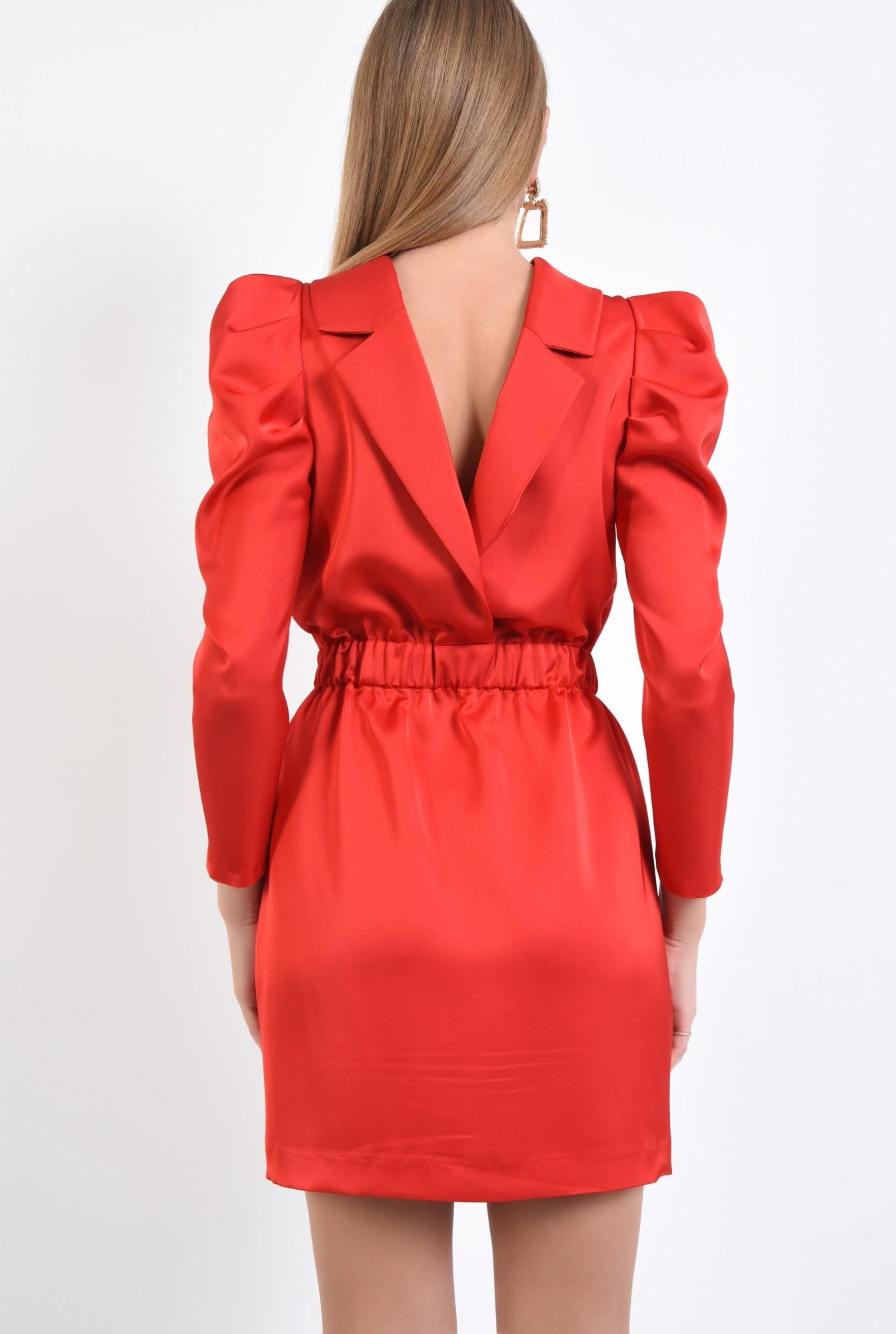 1 - 360 - rochie eleganta, mini, maneci cu cret la umar, spate gol