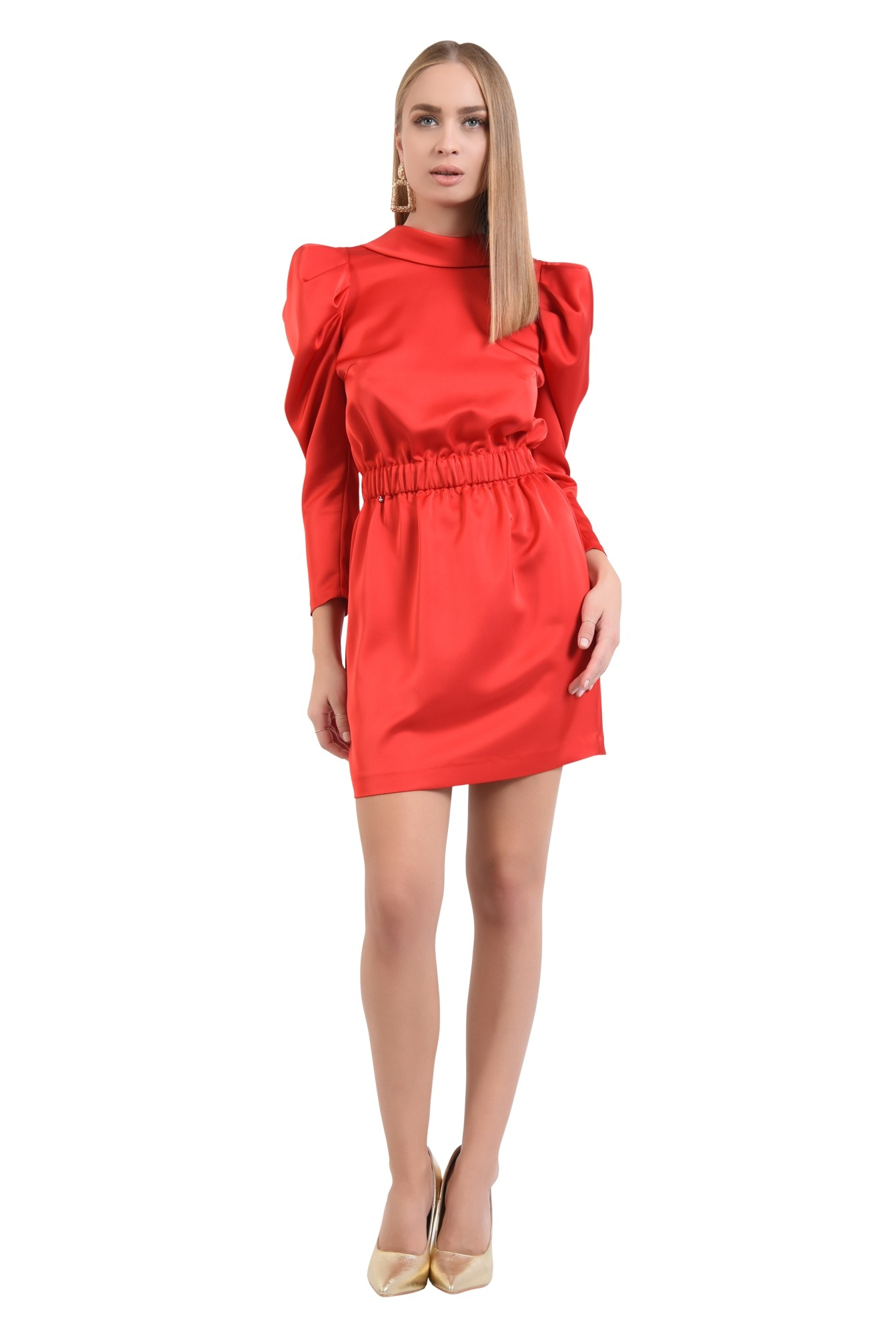 3 - 360 - rochie eleganta, mini, maneci cu cret la umar, spate gol