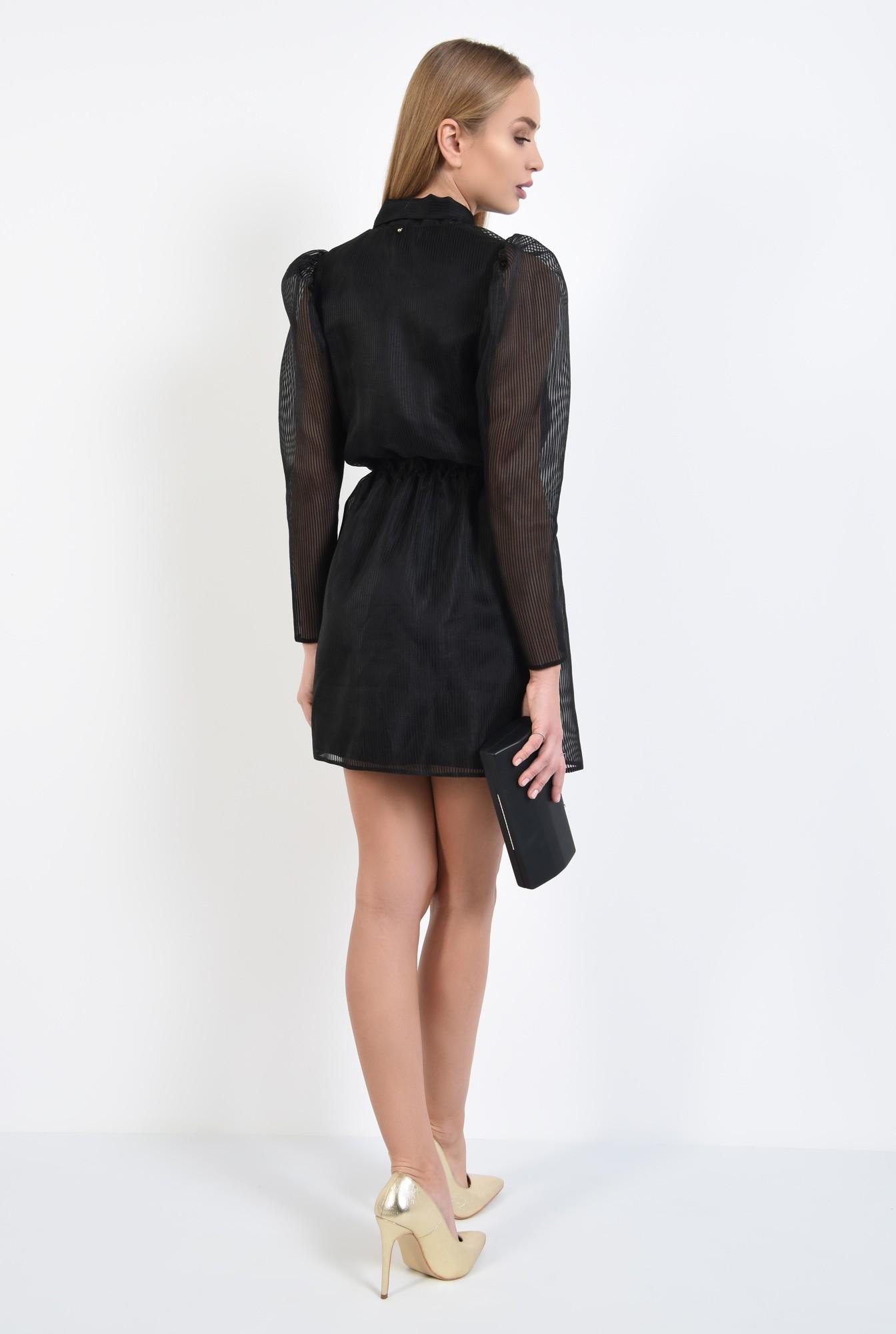 1 - 360 - rochie de seara, neagra, maneci cu cret la umar, voal tip organza