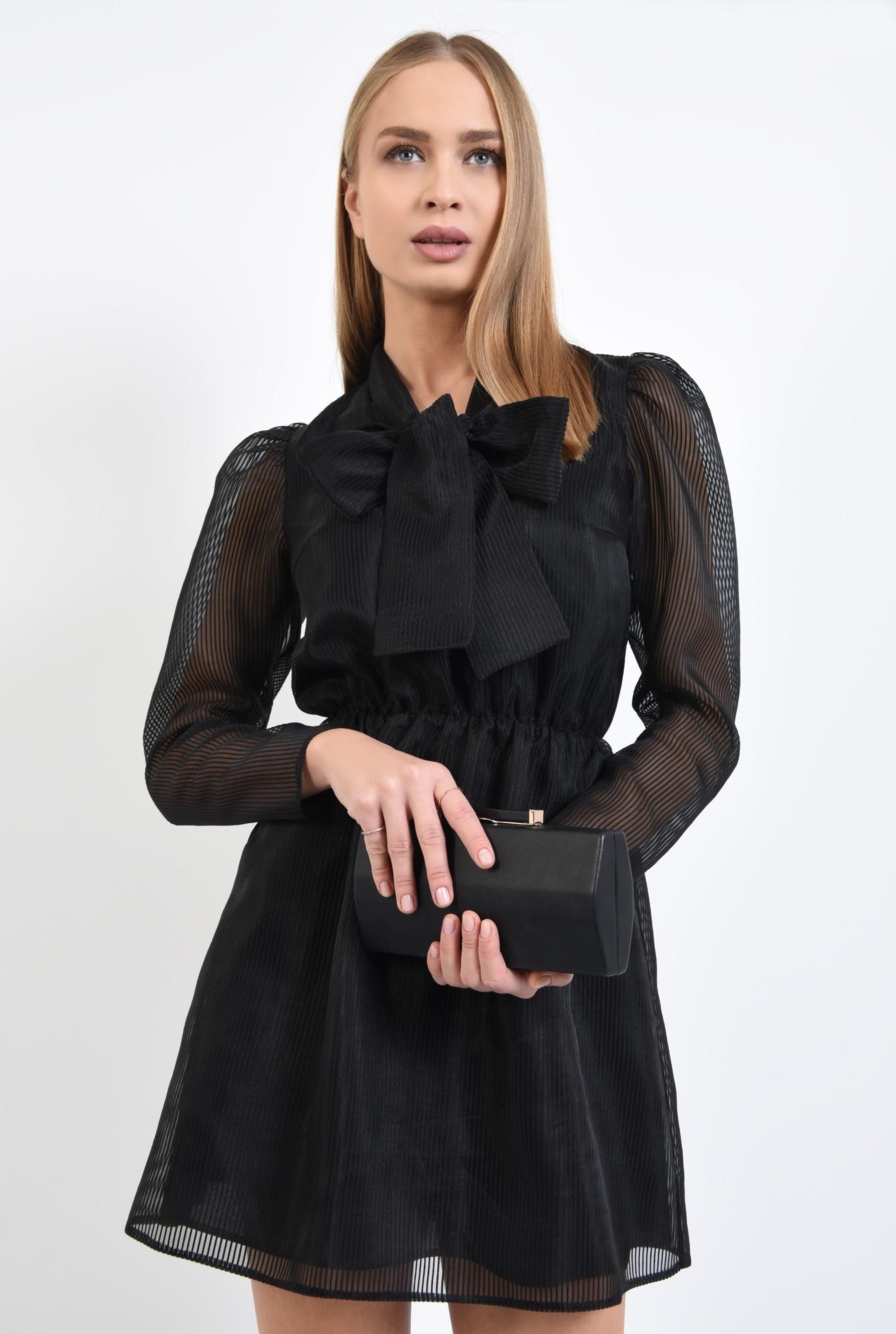 2 - 360 - rochie de seara, neagra, maneci cu cret la umar, voal tip organza