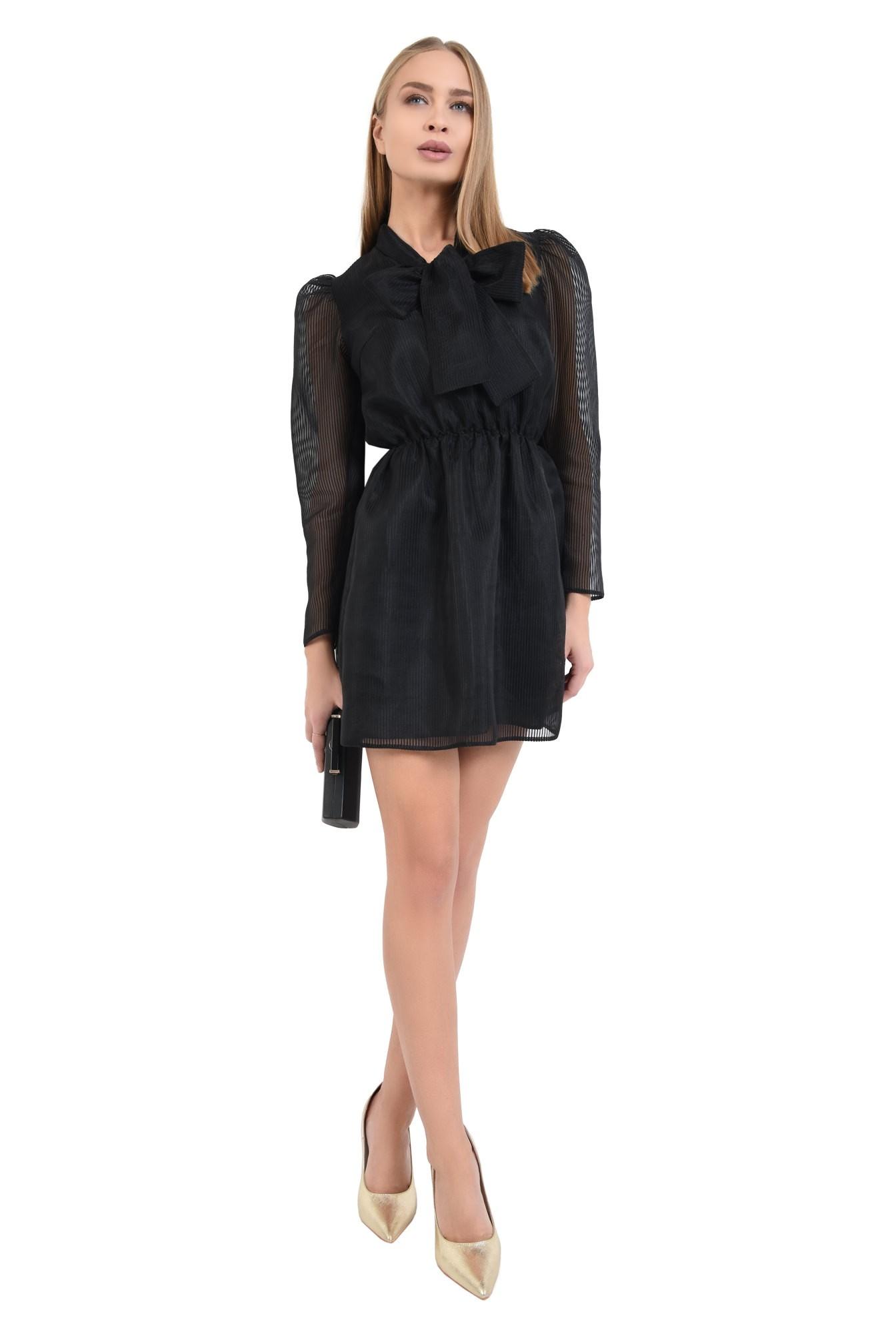 3 - 360 - rochie de seara, neagra, maneci cu cret la umar, voal tip organza