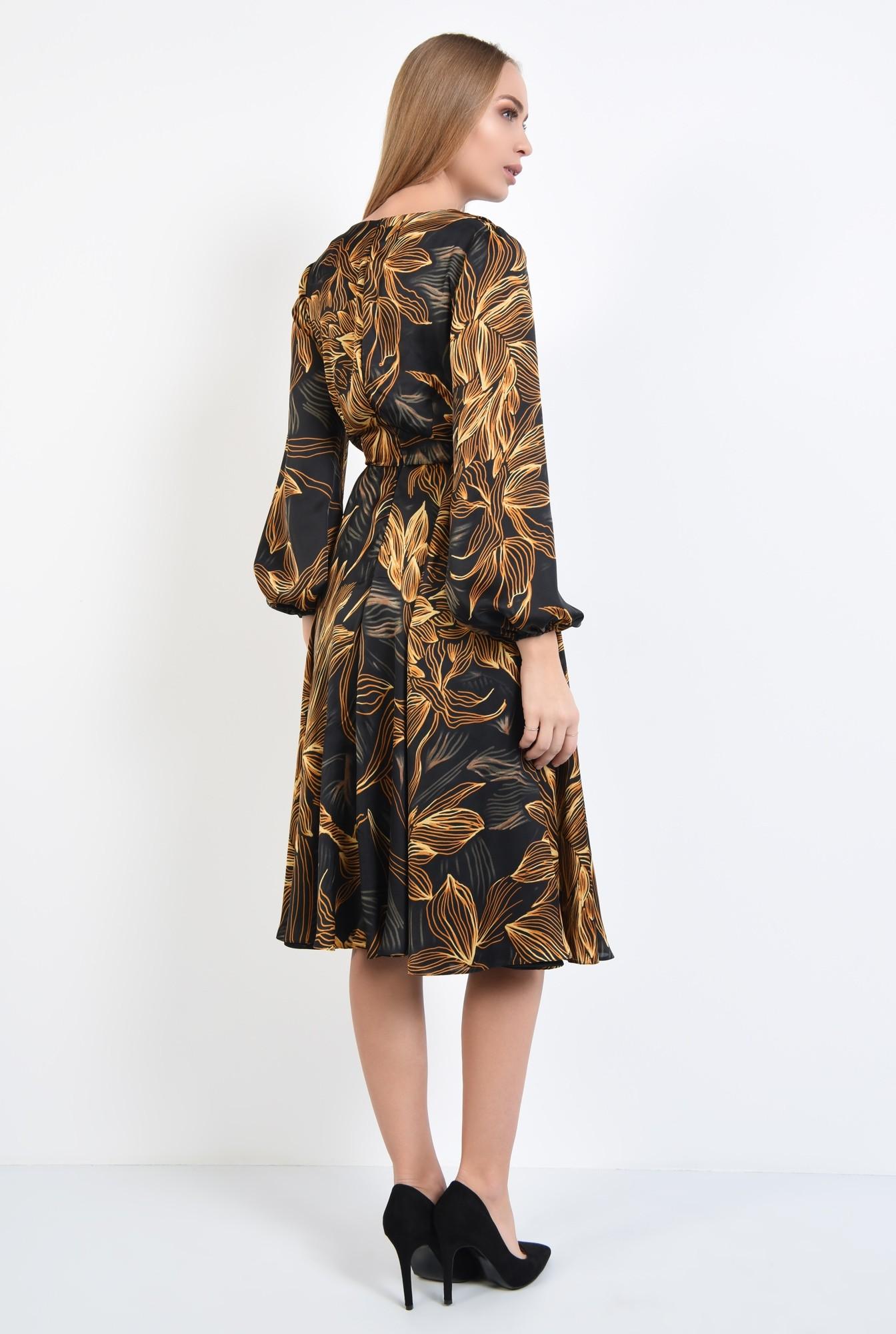 1 - 360 - rochie de zi, cu funda tip esarfa, din satin, croi clos