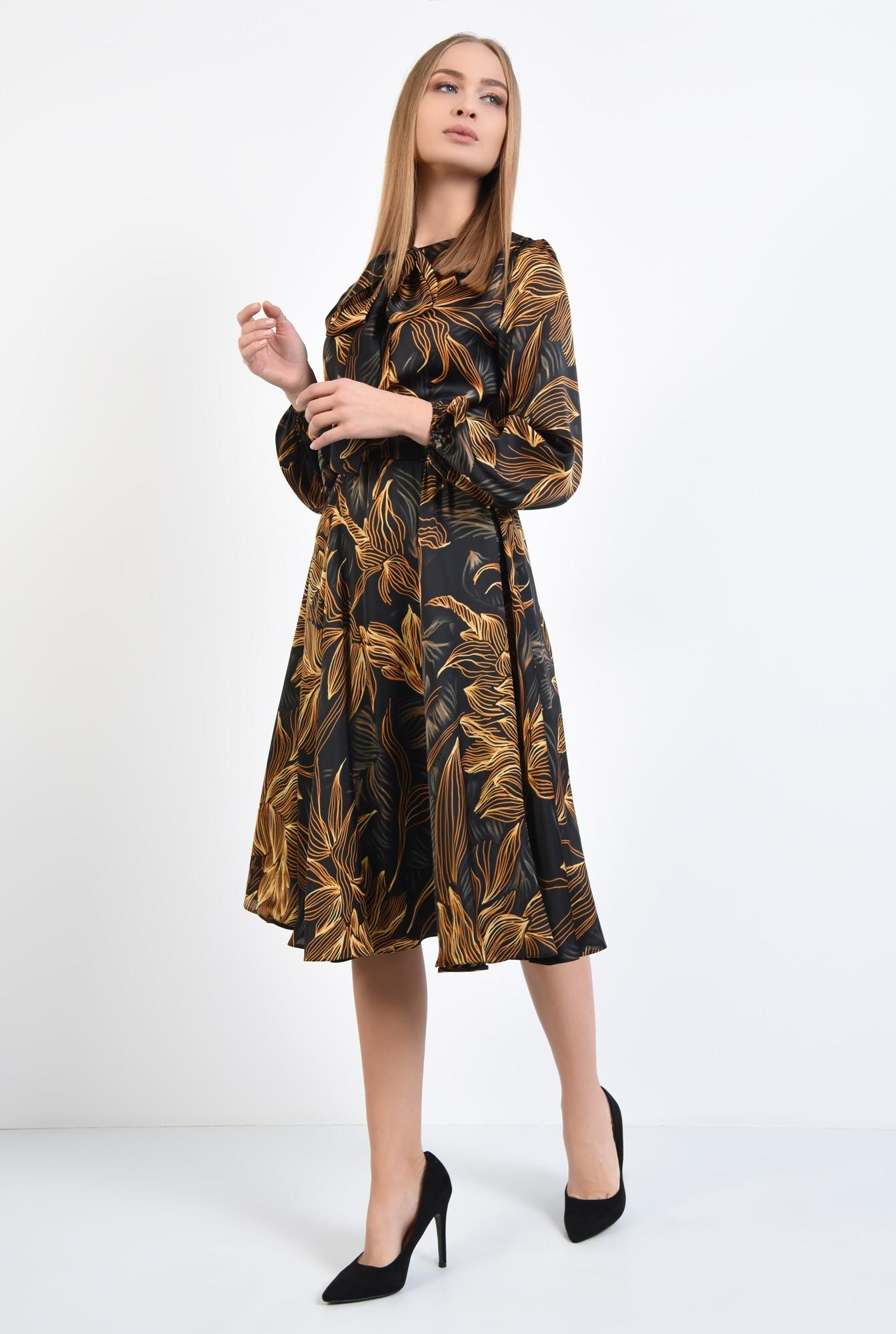 0 - 360 - rochie de zi, cu funda tip esarfa, din satin, croi clos