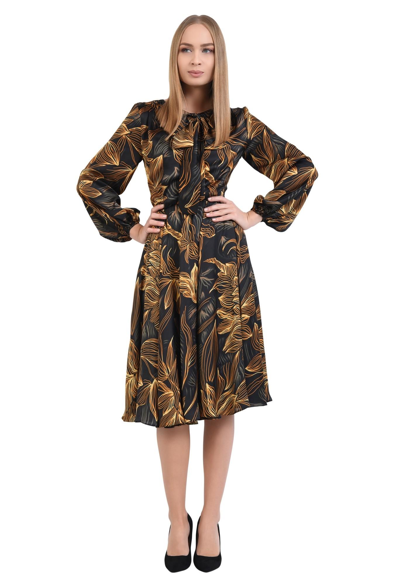 3 - 360 - rochie de zi, cu funda tip esarfa, din satin, croi clos