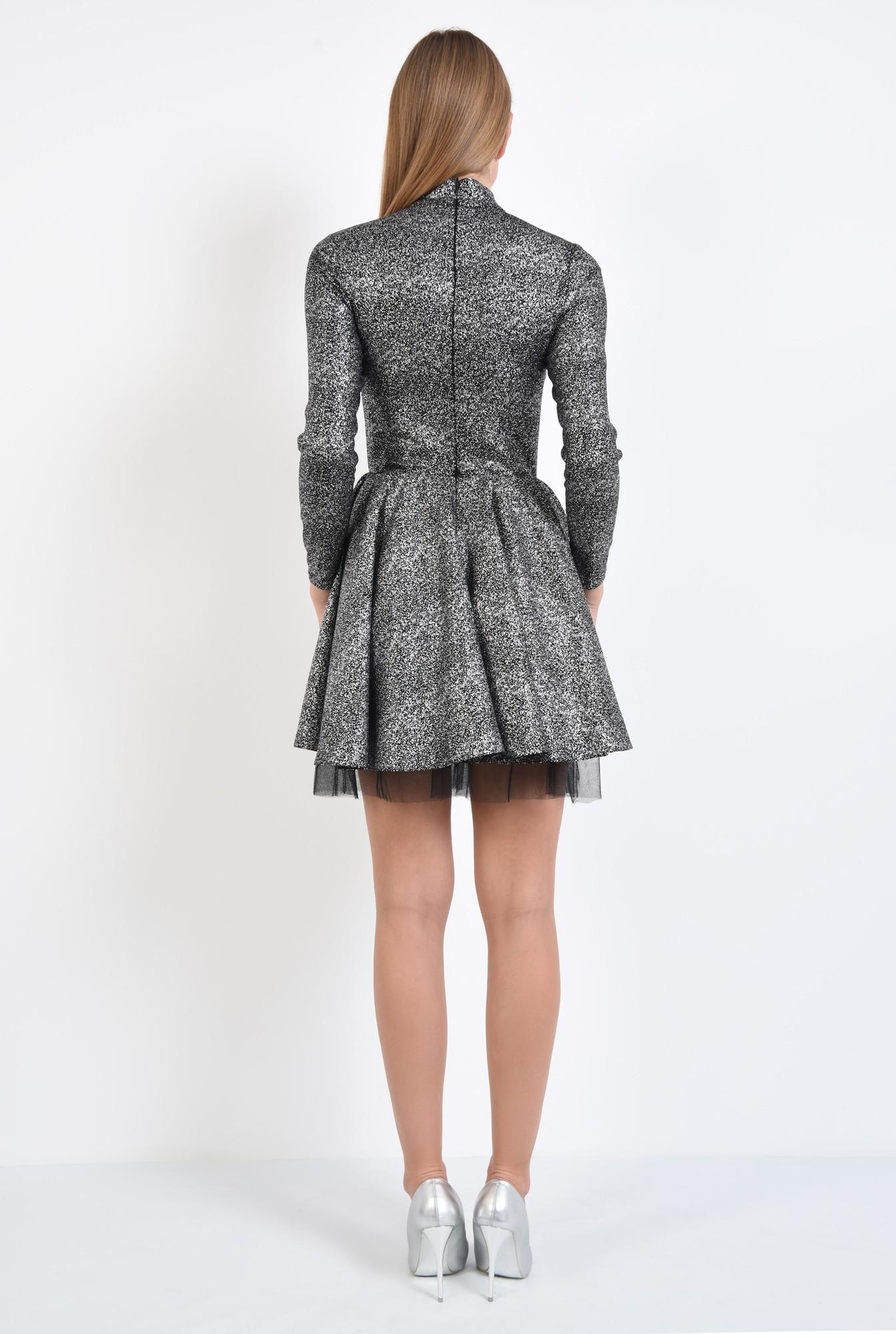 1 - rochie de ocazie, picouri argintii metalizat, croi clos cu pliseuri late