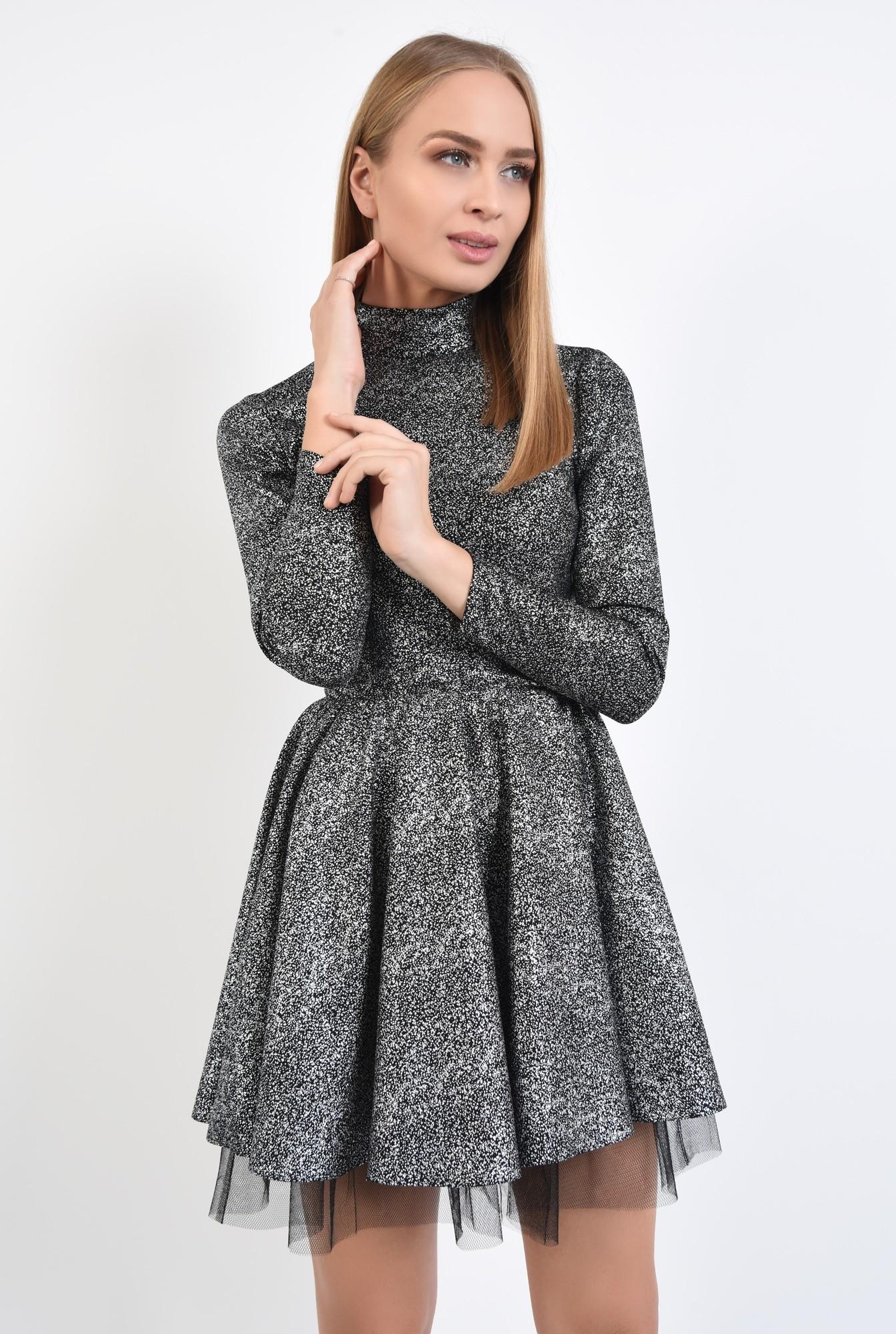 2 - rochie de ocazie, picouri argintii metalizat, croi clos cu pliseuri late
