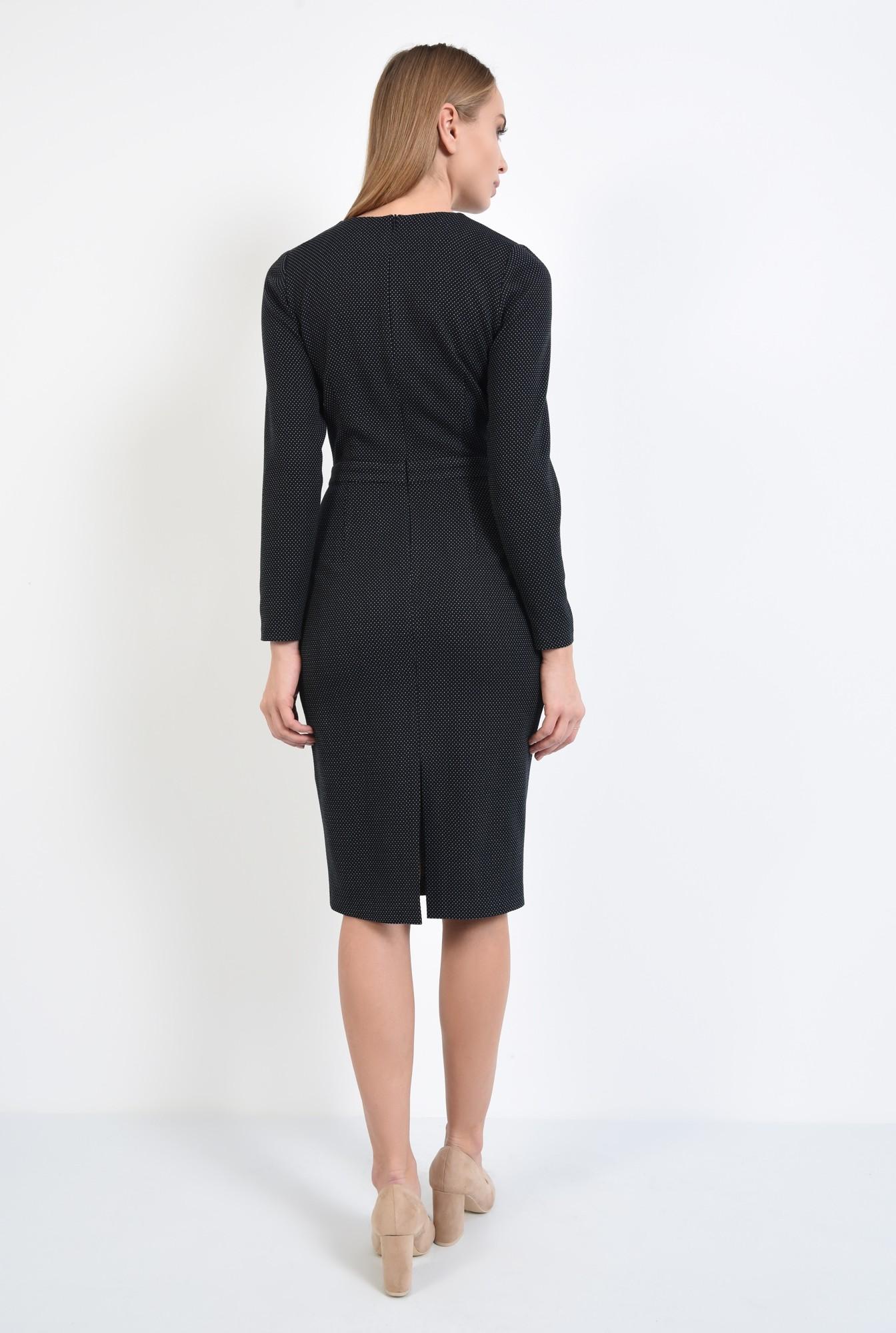 1 - 360 - rochie neagra, cambrata, cu betelie, maneci lungi