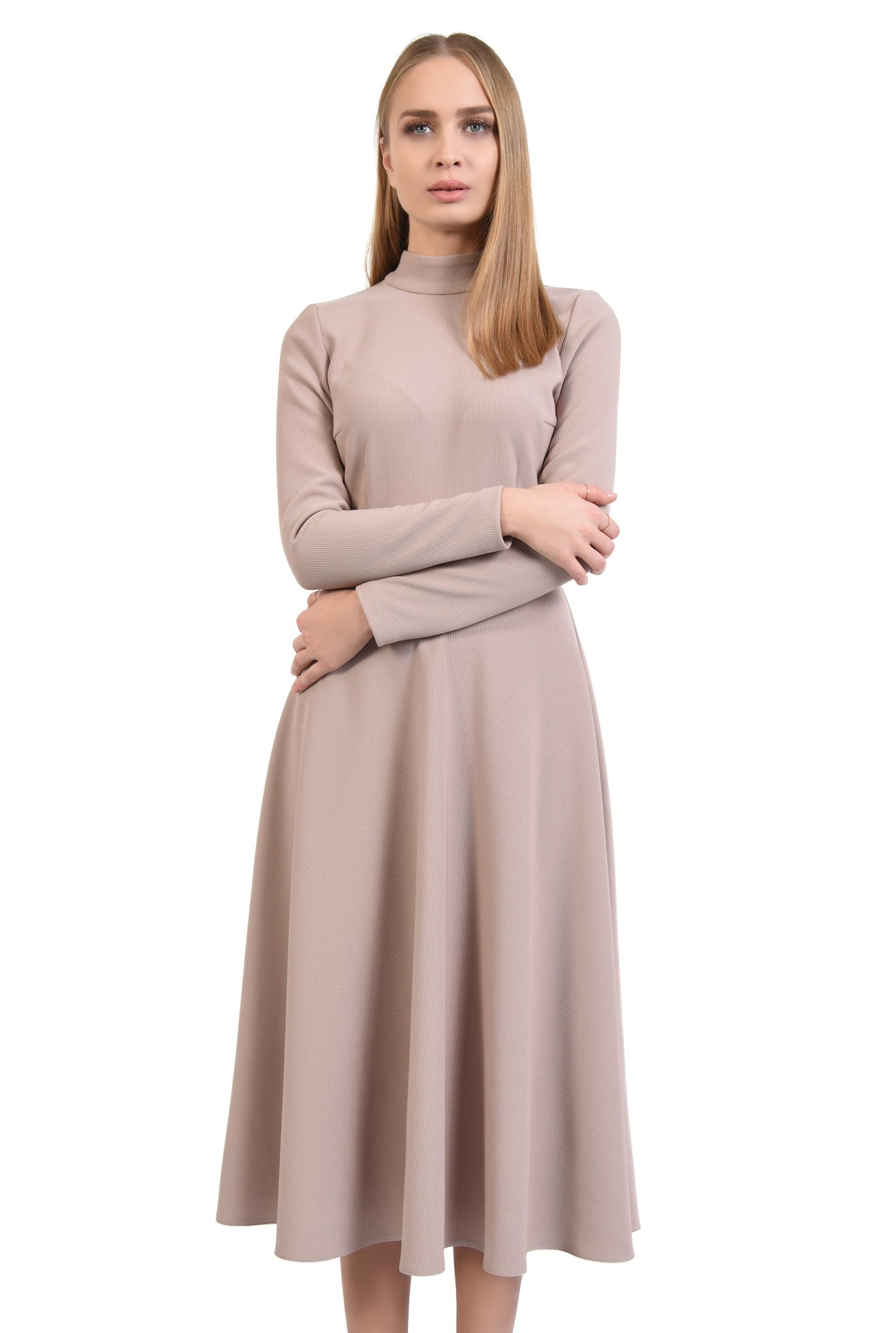 0 - rochie evazata, cu guler inalt, nasturi perla la spate, roz