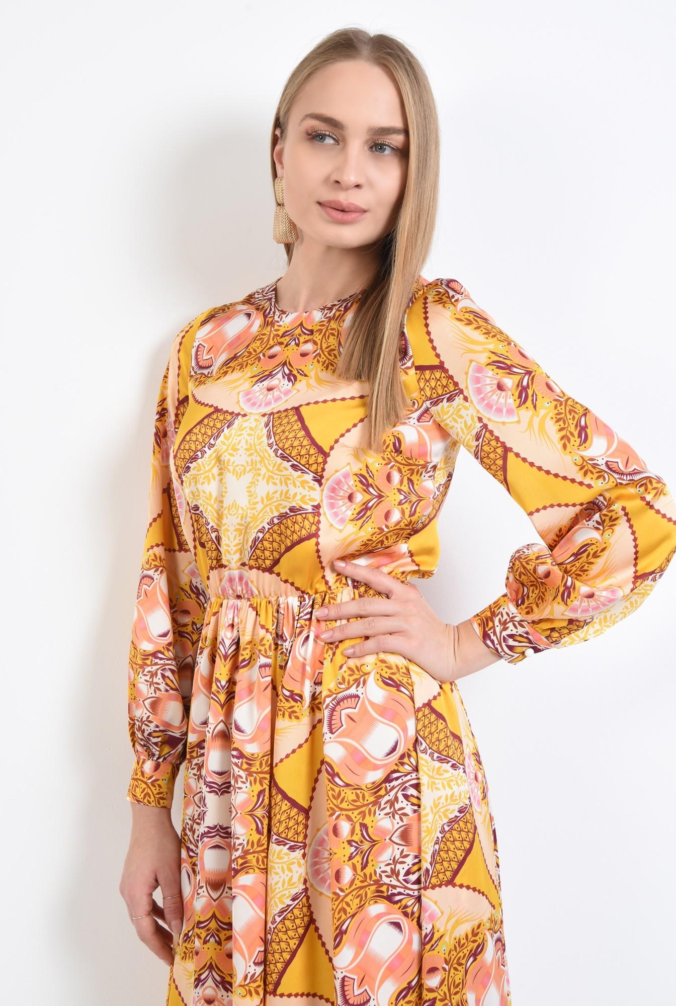 2 - 360 - rochie imprimata, midi, croi pe bie, galben mustar, imprimeu abstract