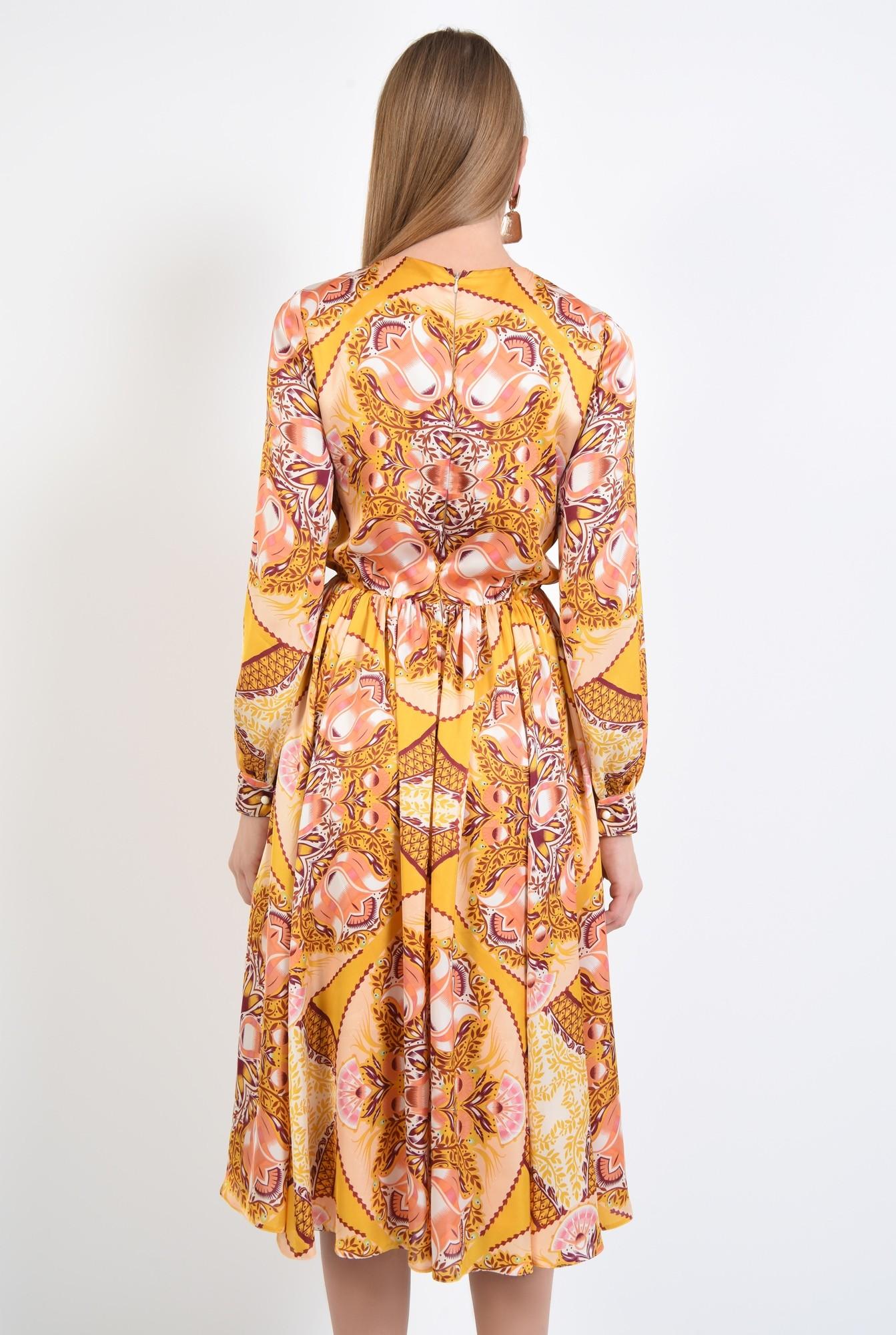 1 - 360 - rochie imprimata, midi, croi pe bie, galben mustar, imprimeu abstract