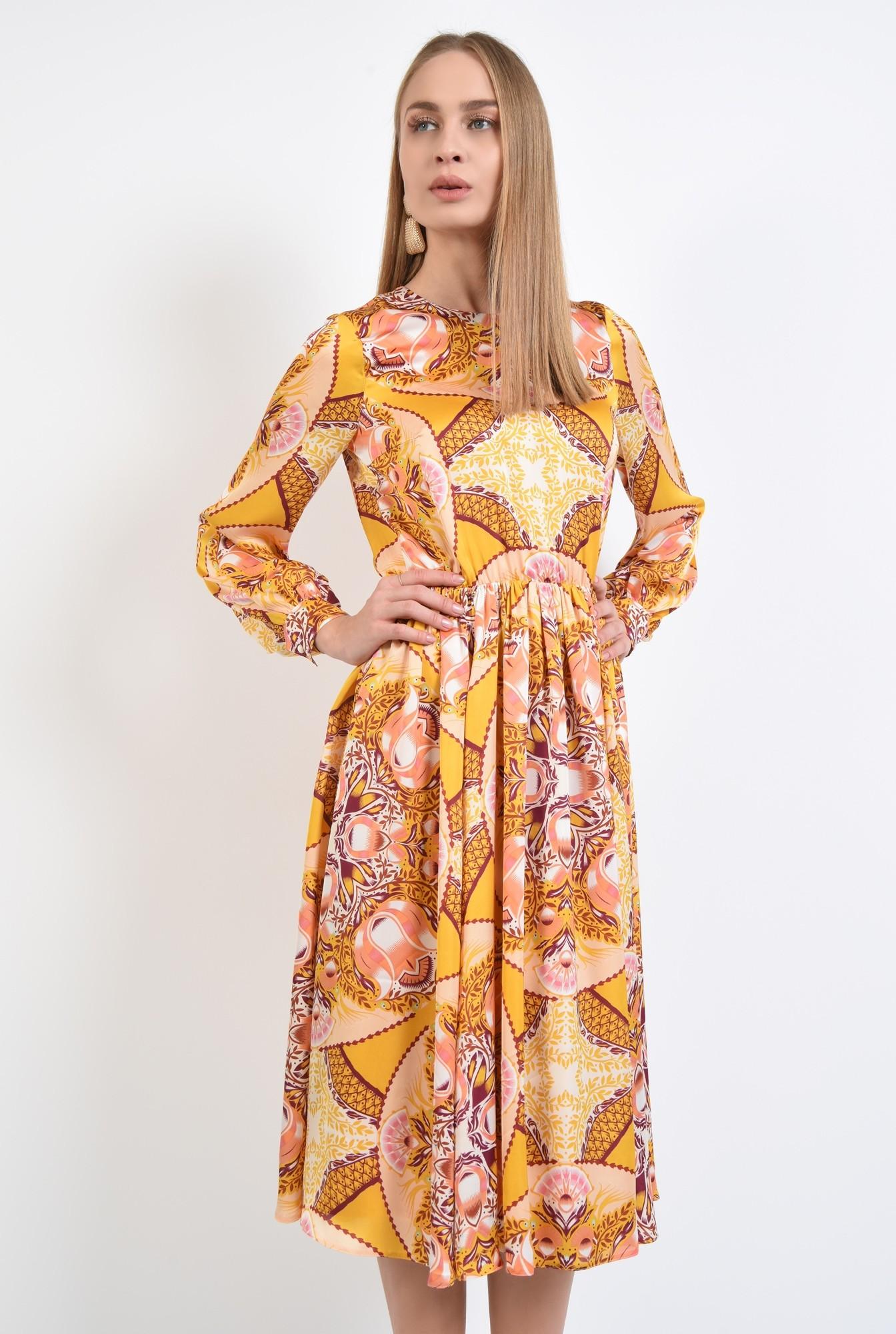 0 - 360 - rochie imprimata, midi, croi pe bie, galben mustar, imprimeu abstract