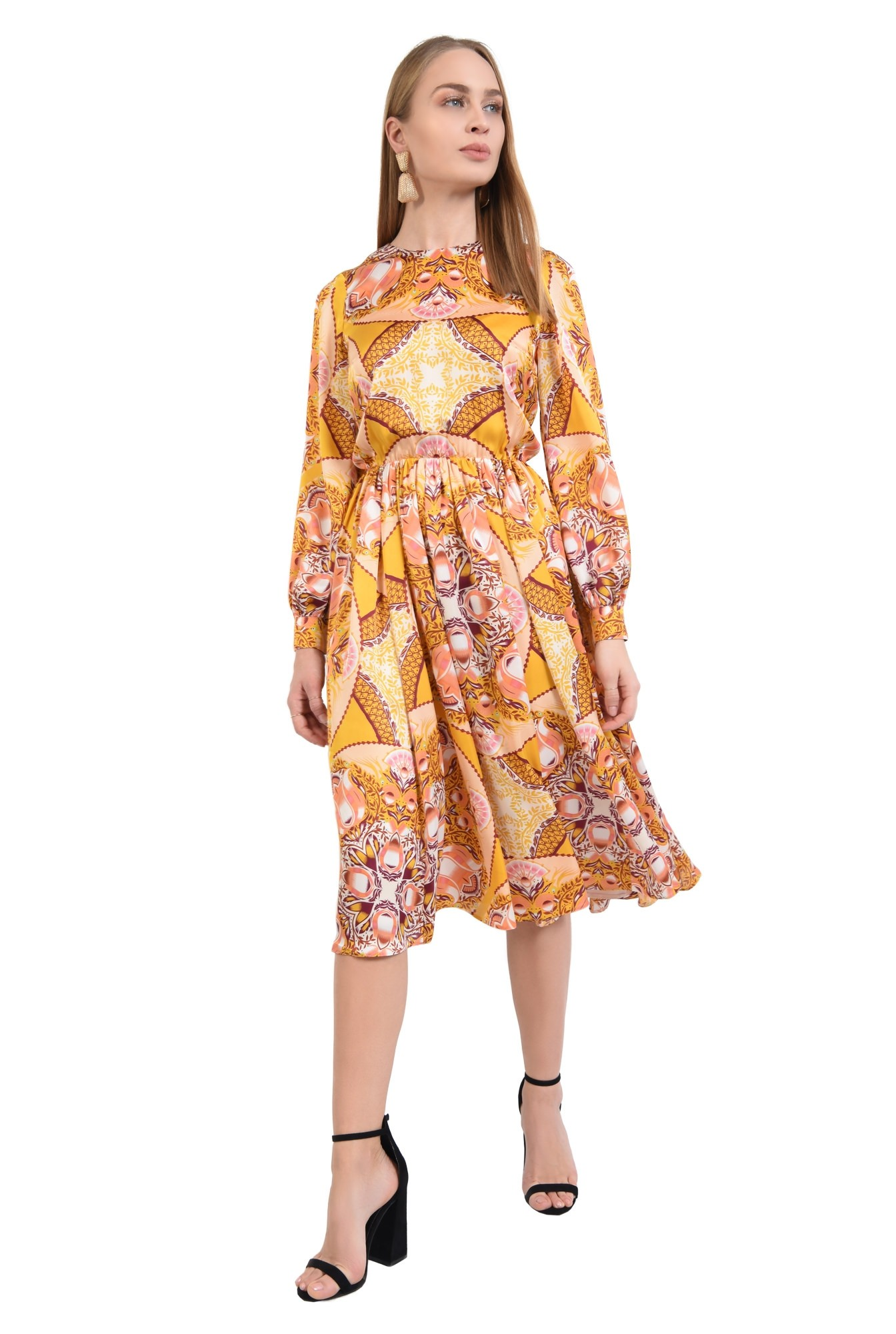 3 - 360 - rochie imprimata, midi, croi pe bie, galben mustar, imprimeu abstract