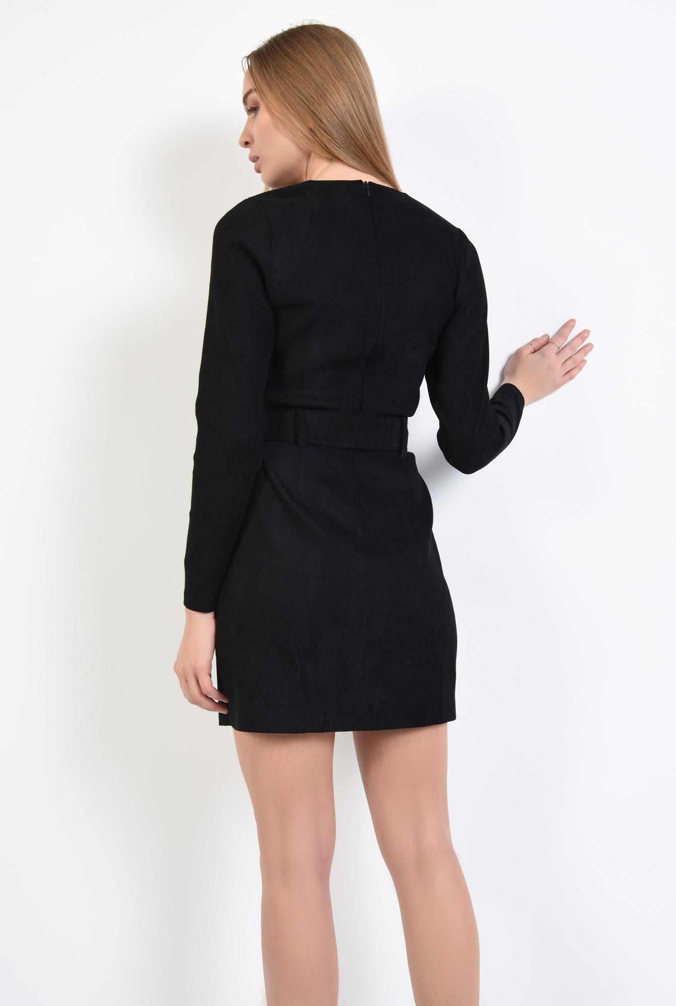 1 - rochie casual, scurta, cu curea lata, piele eco