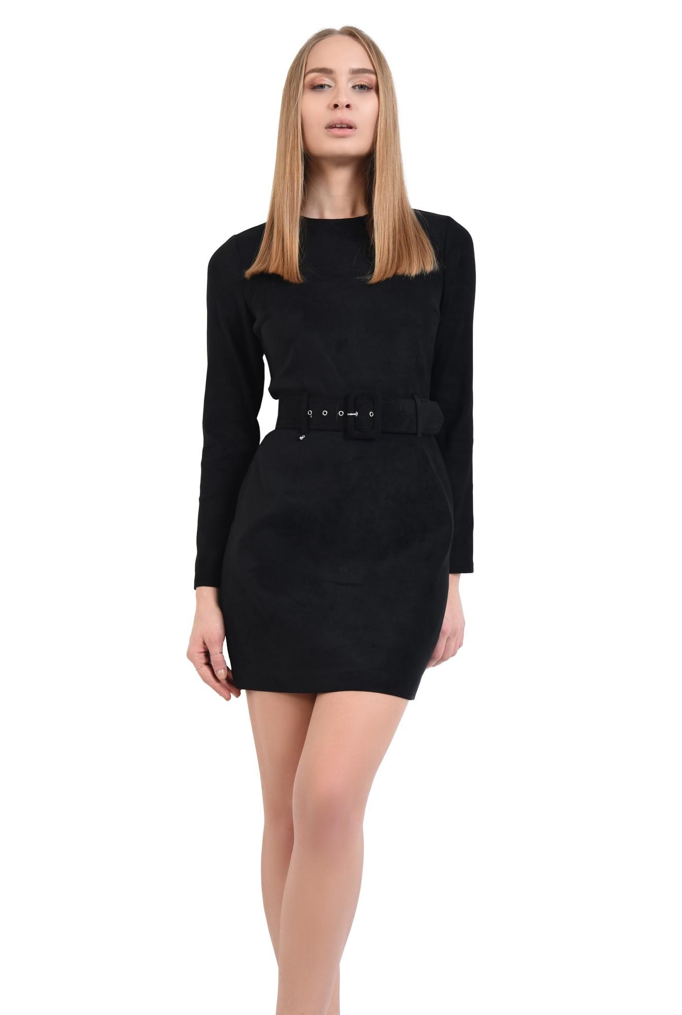 2 - rochie casual, scurta, cu curea lata, piele eco