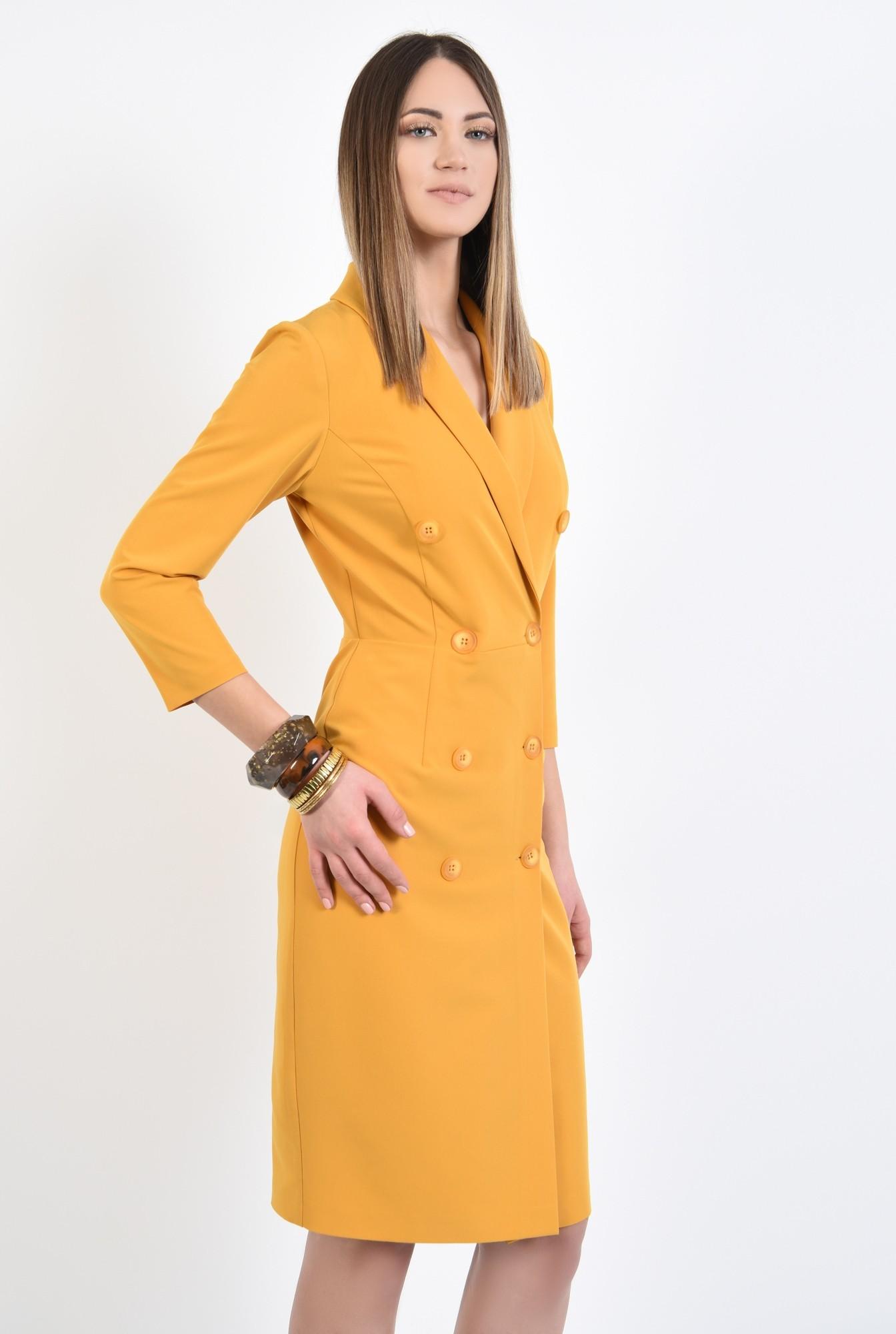 0 - 360 - rochie eleganta, conica, midi, galbena, mustar, rochie office