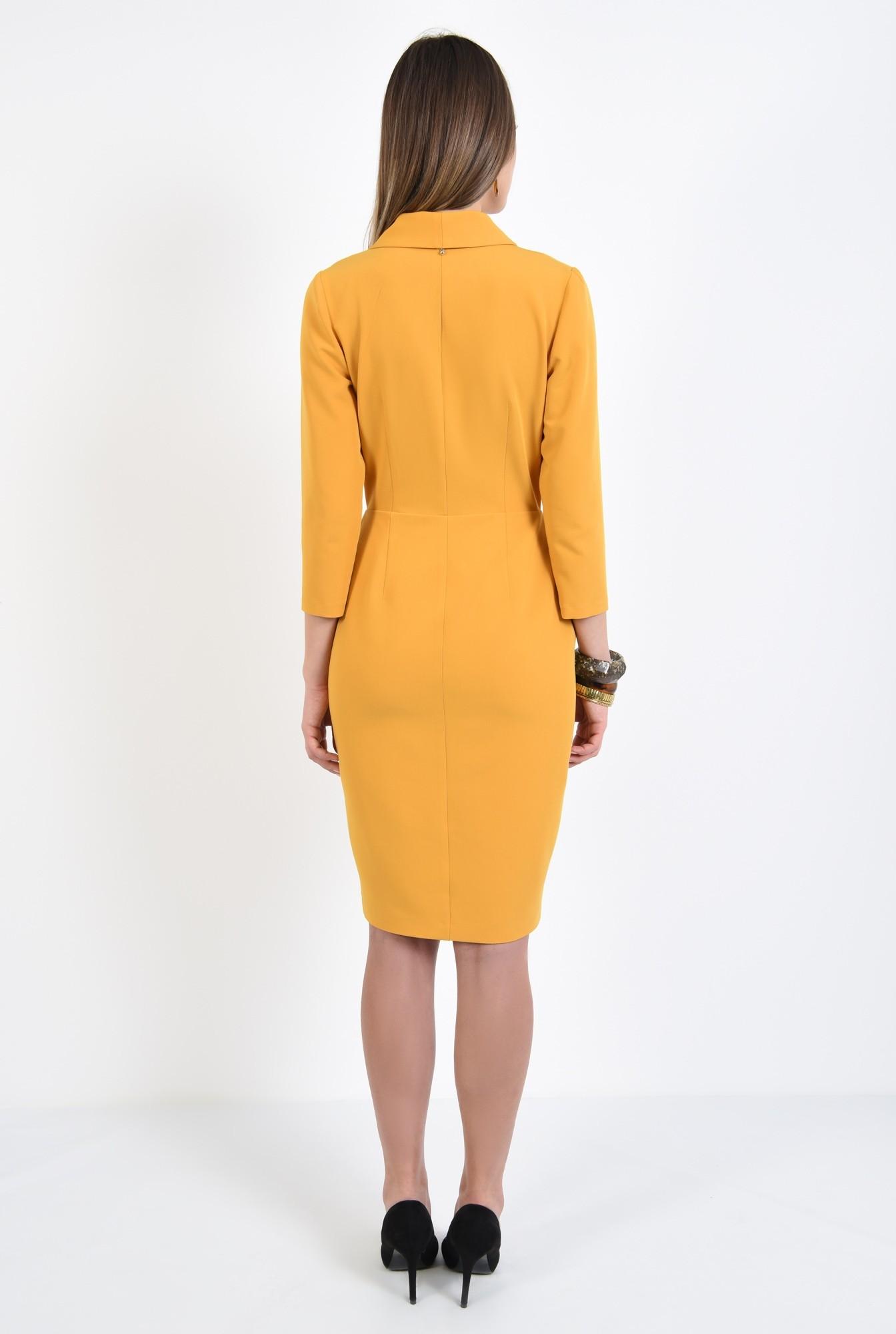 1 - 360 - rochie eleganta, conica, midi, galbena, mustar, rochie office