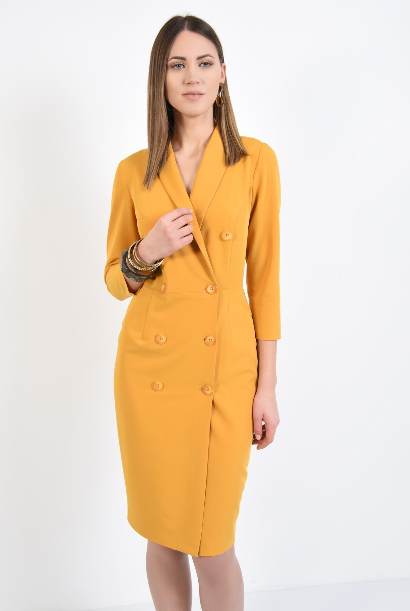 2 - 360 - rochie eleganta, conica, midi, galbena, mustar, rochie office