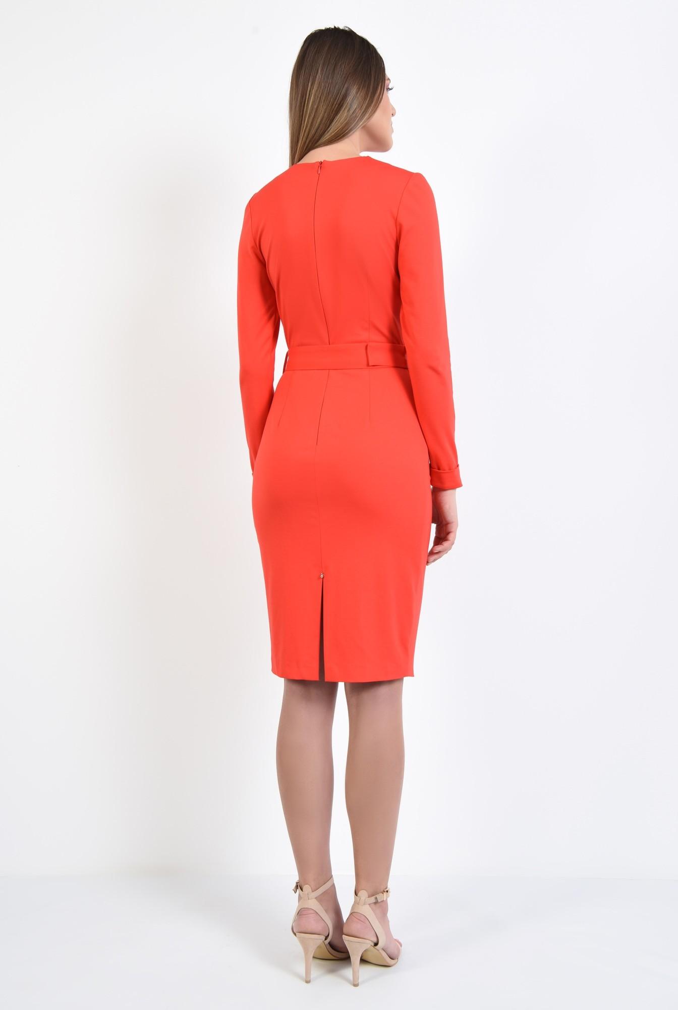 1 - 360 - rochie bodycon, casual, rosu corai, maneci lungi, cu centura