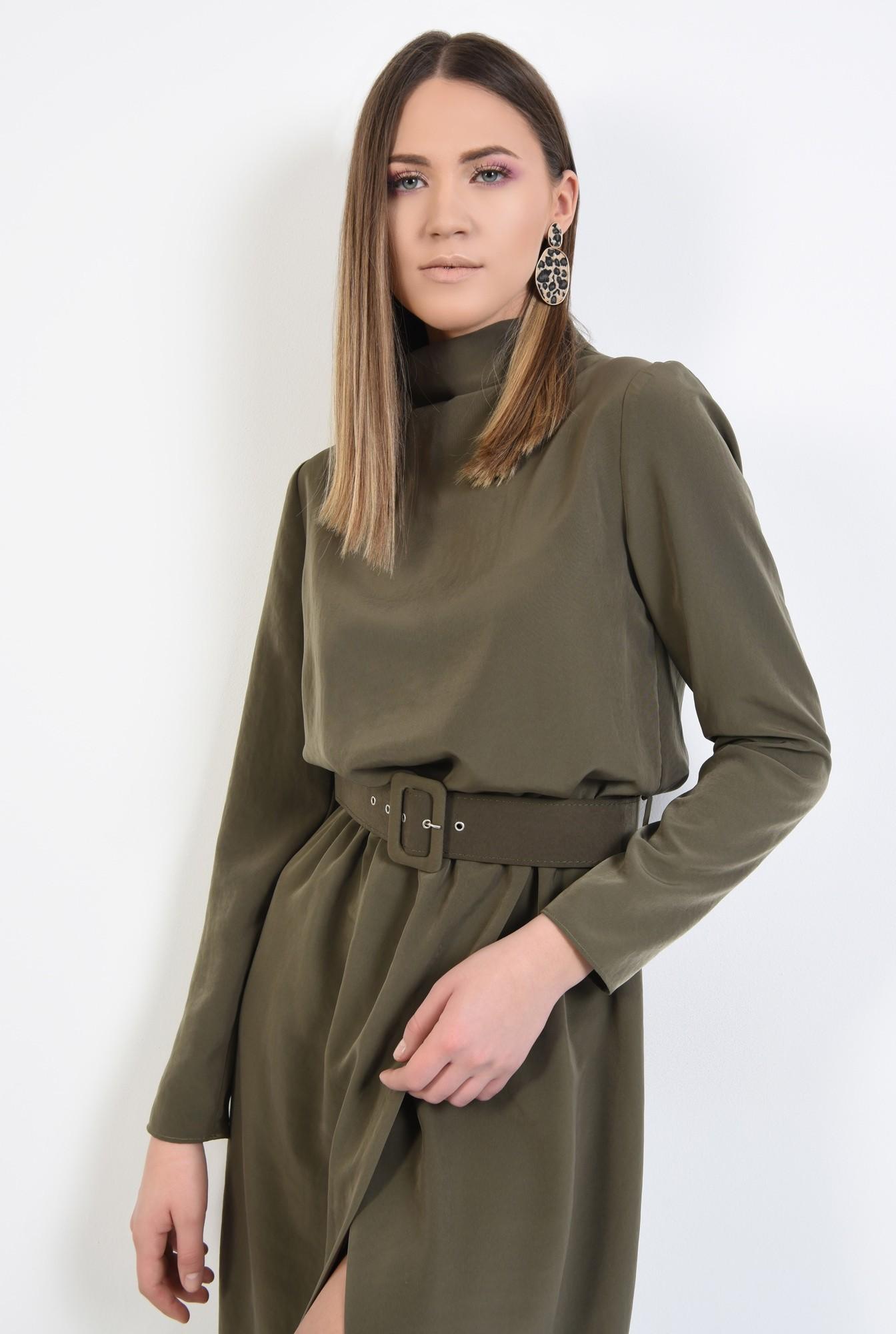 2 - rochie eleganta, de zi, verde, kaki, cu curea, maneci lungi