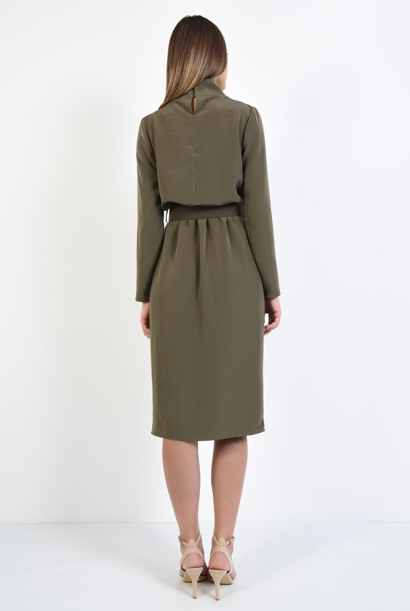 1 - rochie eleganta, de zi, verde, kaki, cu curea, maneci lungi