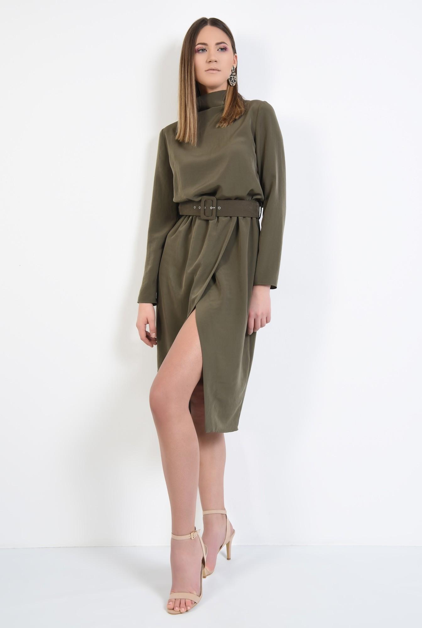 3 - rochie eleganta, de zi, verde, kaki, cu curea, maneci lungi