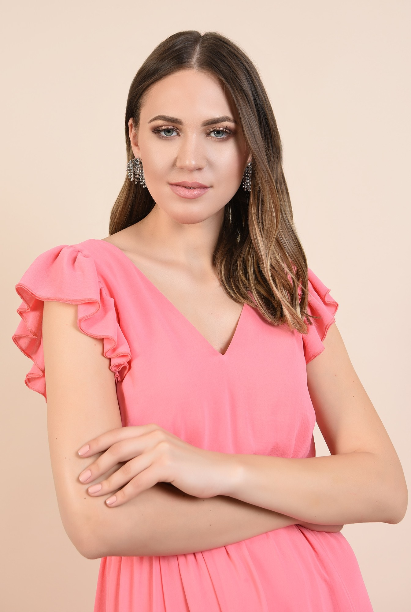 2 - rochie din voal, eleganta, roz, maneci volan, anchior, Poema