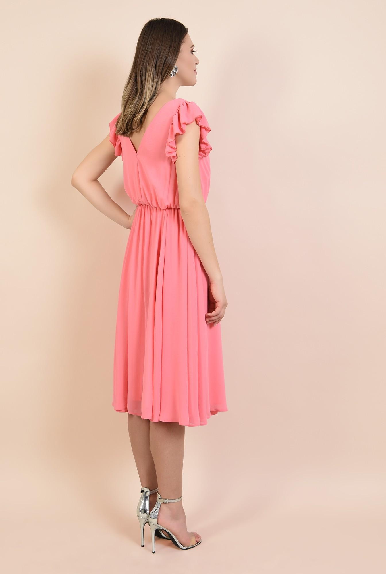 1 - rochie din voal, eleganta, roz, maneci volan, anchior, Poema