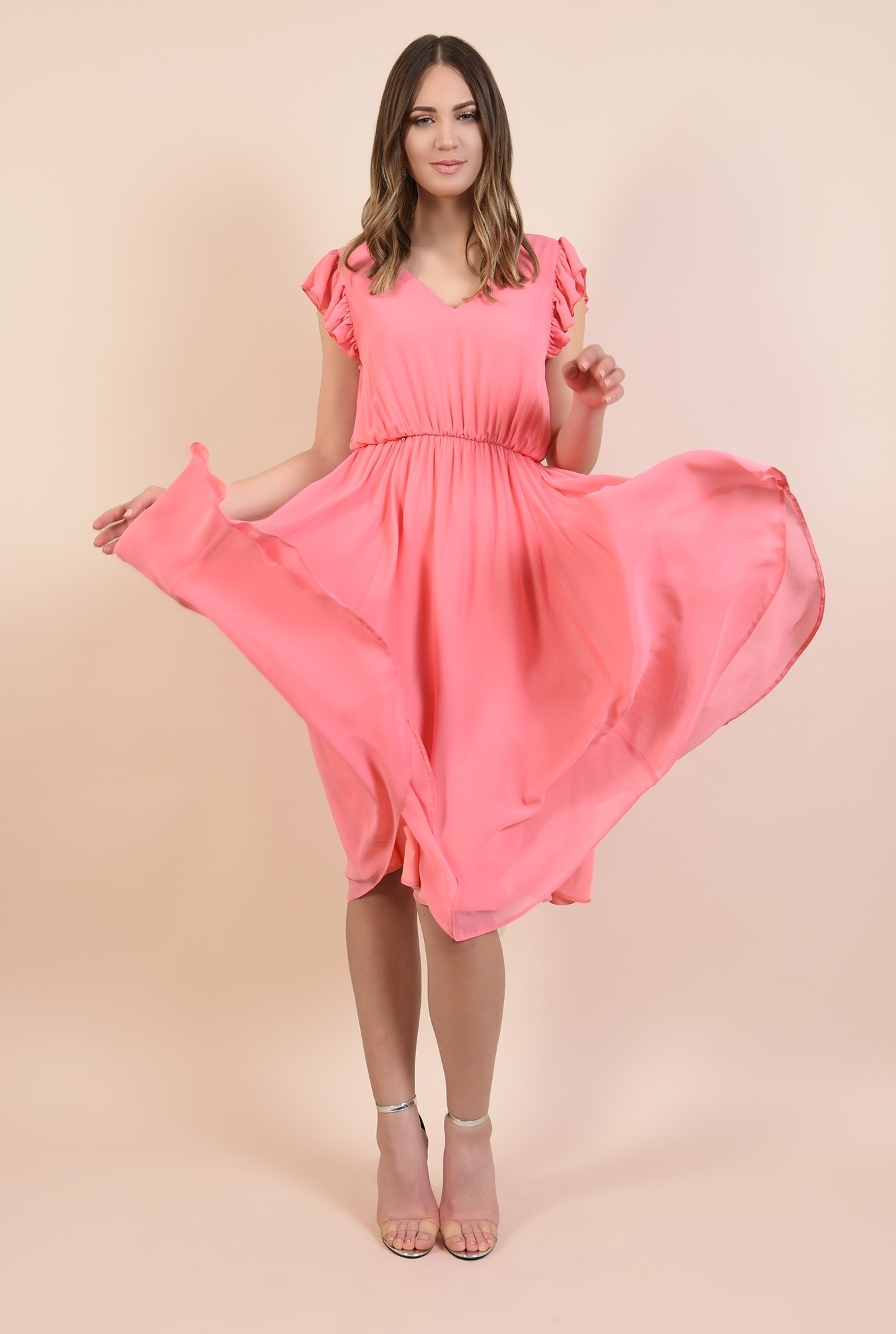 0 - rochie din voal, eleganta, roz, maneci volan, anchior, Poema