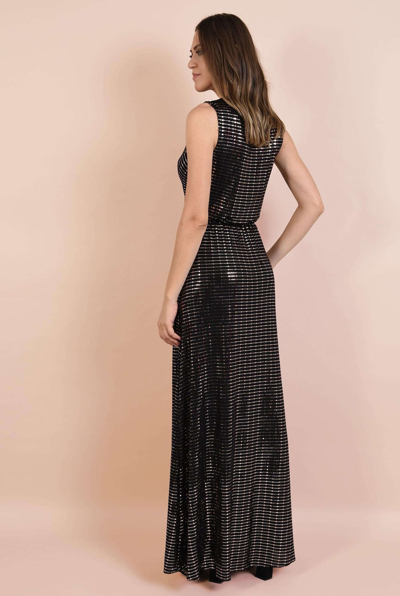 1 - 360 - rochie de seara, lunga, din lurex cu detalii aurii, anchior, croi petrecut, Poema